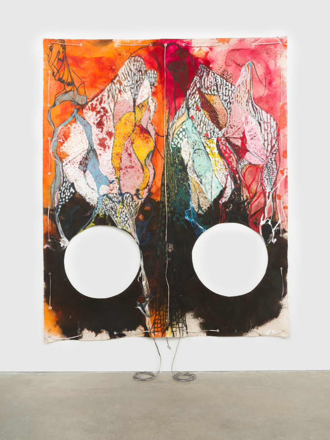 NaotakaHiro  Untitled (Hut)  2018 Canvas, fabric dye, oil pastel, rope and grommets 108h x 84w in NaoH038