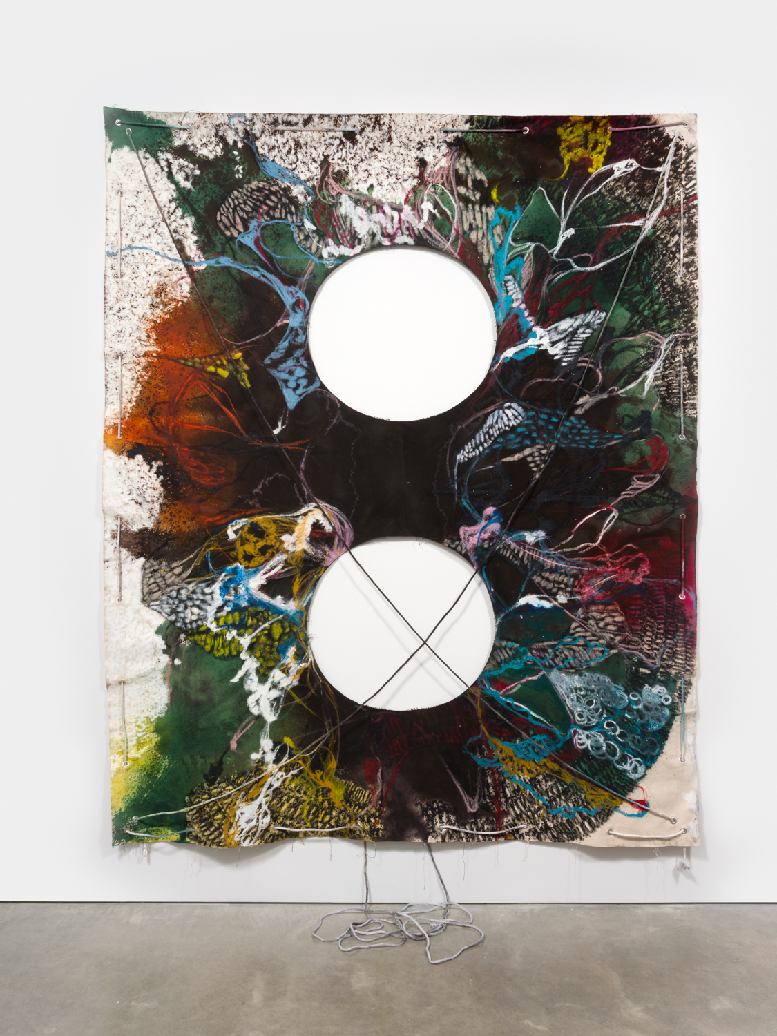 NaotakaHiro  Untitled (Mirror Lake)  2018 Canvas, fabric dye, oil pastel, rope and grommets 108h x 84w in NaoH033