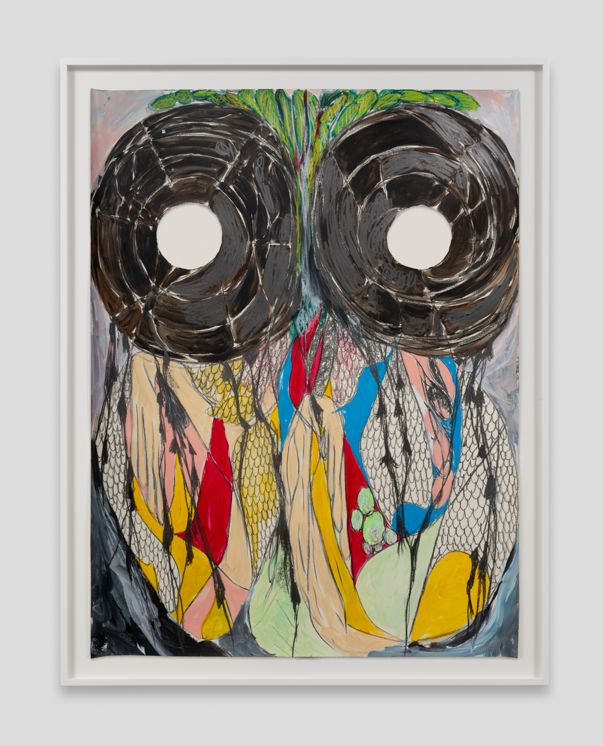 NaotakaHiro  Untitled (Hoot 1)  2018 Acrylic, graphite and grease pencil on paper 42h x 32w in NaoH029