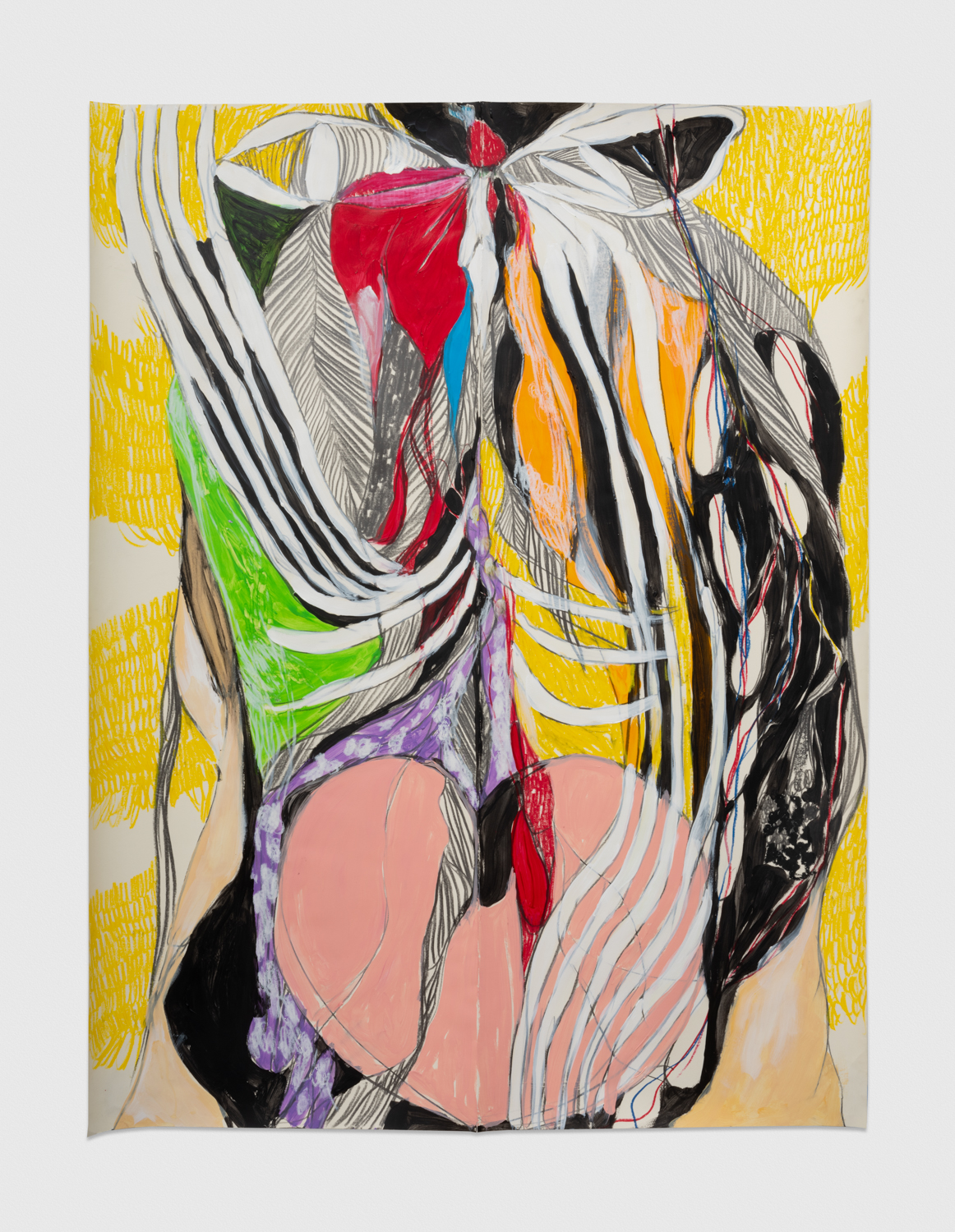 NaotakaHiro Untitled (Rear View), 2018 Acrylic, graphite and grease pencil on paper 42h x 32w in NaoH016