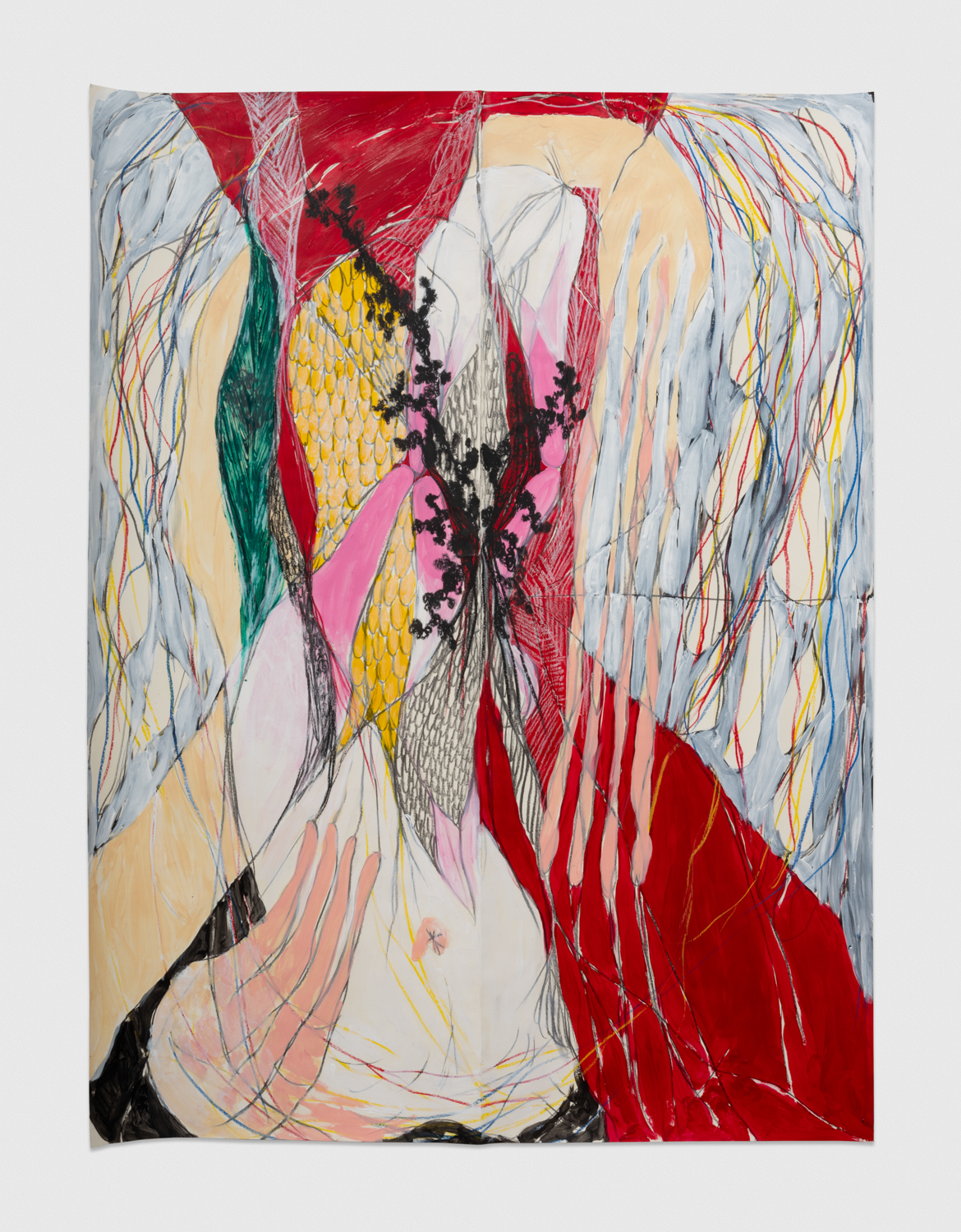 NaotakaHiro Untitled (Wire), 2018 Acrylic, graphite and grease pencil on paper 42h x 32w in NaoH017