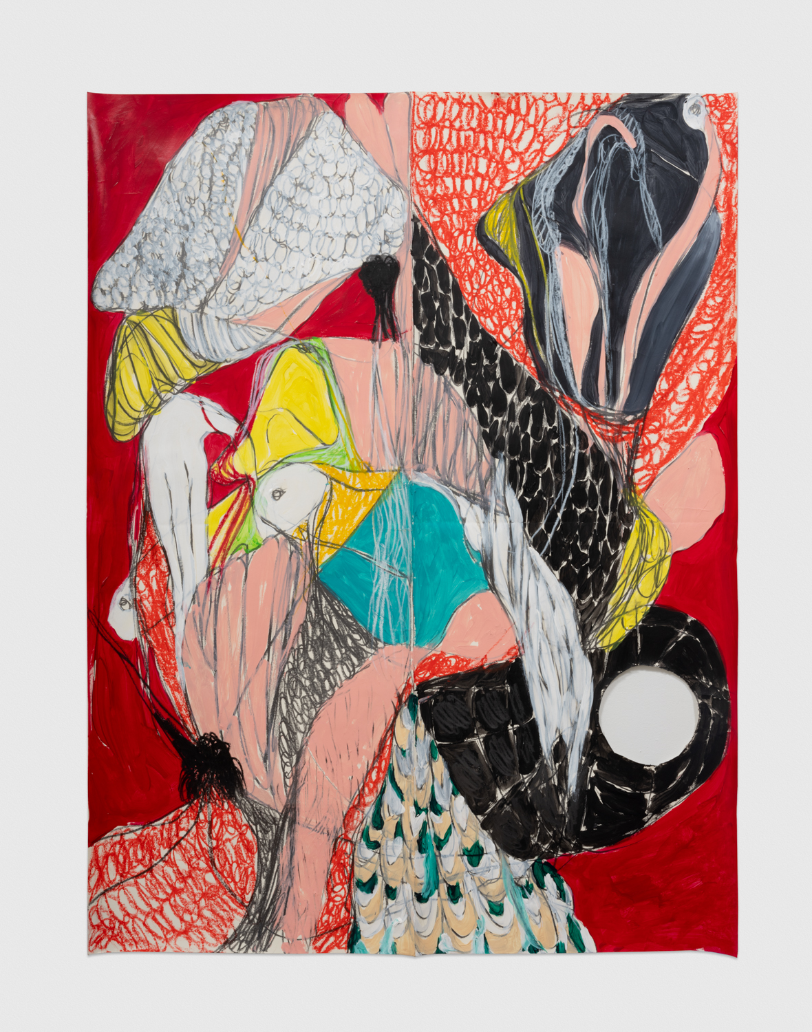 NaotakaHiro Untitled (Perching, Red), 2018 Acrylic, graphite and grease pencil on paper 42h x 32w in NaoH019
