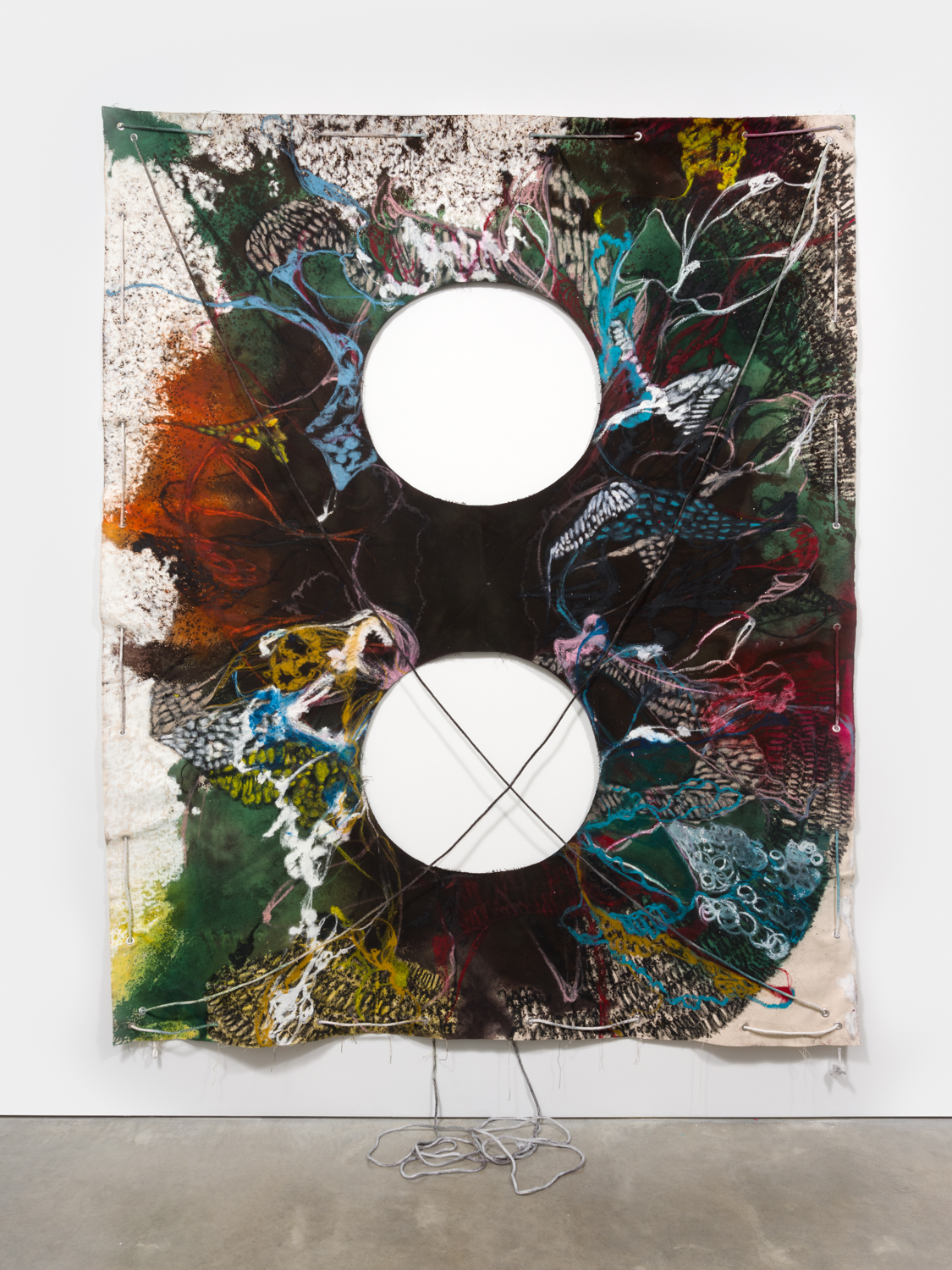 NaotakaHiro Untitled (Mirror Lake), 2018 Canvas, fabric dye, oil pastel, rope and grommets 108h x 84w in NaoH033