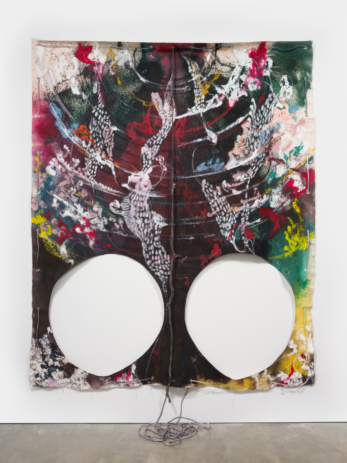 NaotakaHiro Untitled (Sway), 2018 Canvas, fabric dye, oil pastel, rope and grommets 108h x 84w in NaoH035
