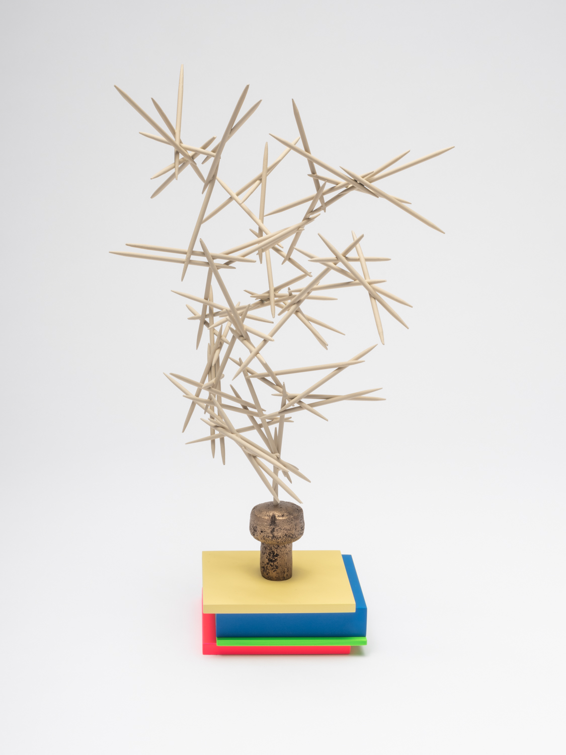 Chris Bradley  Mnemonic (Post-It)  2018 Painted steel, cast bronze, aluminum, and enamel paint 12h x 7w x 7d in CB273