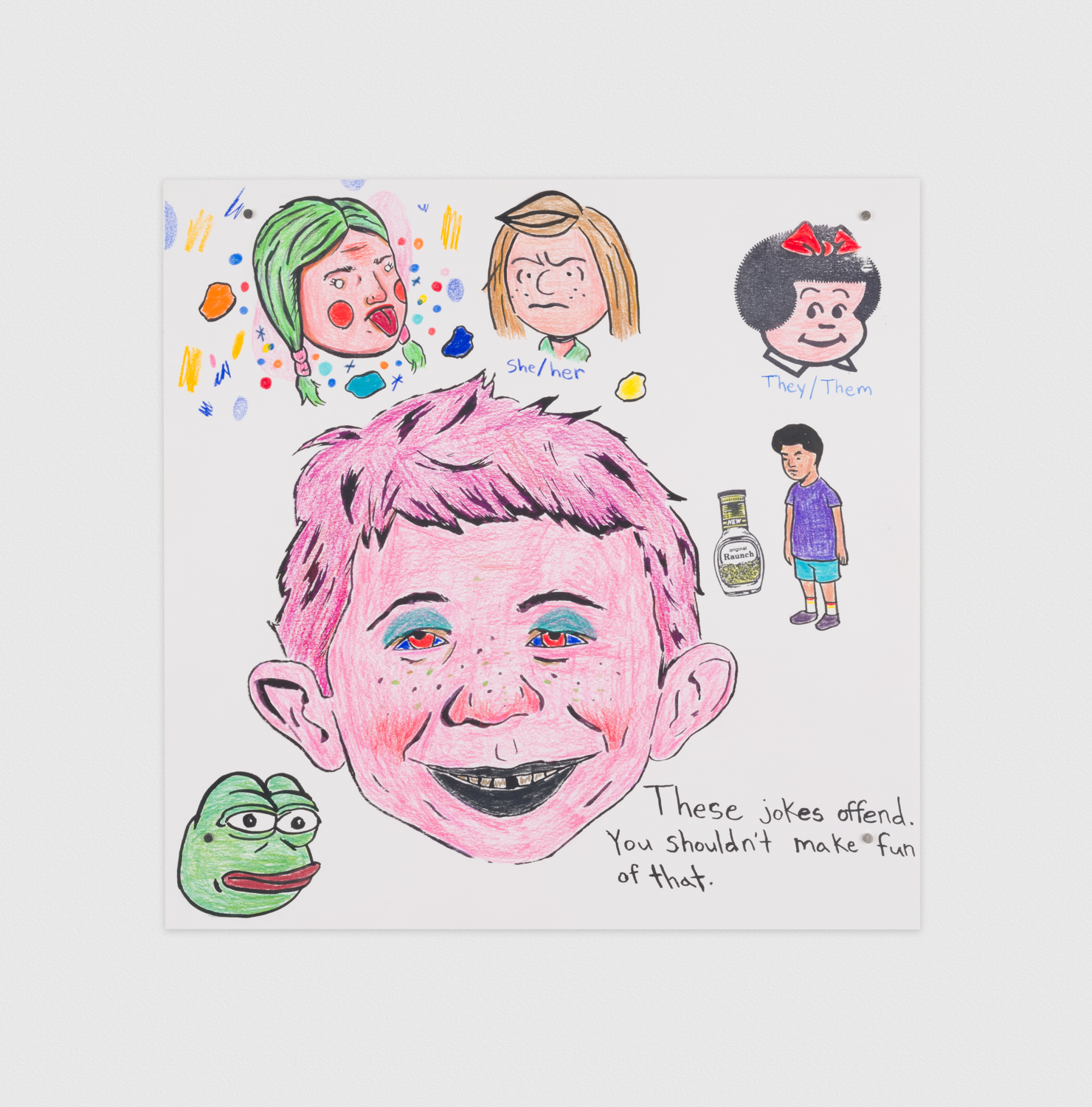 David Leggett  Making funny and checking privilege  2019 Screen print, ink, rubber stamp, and color pencil on paper 12h x 12w in DL407