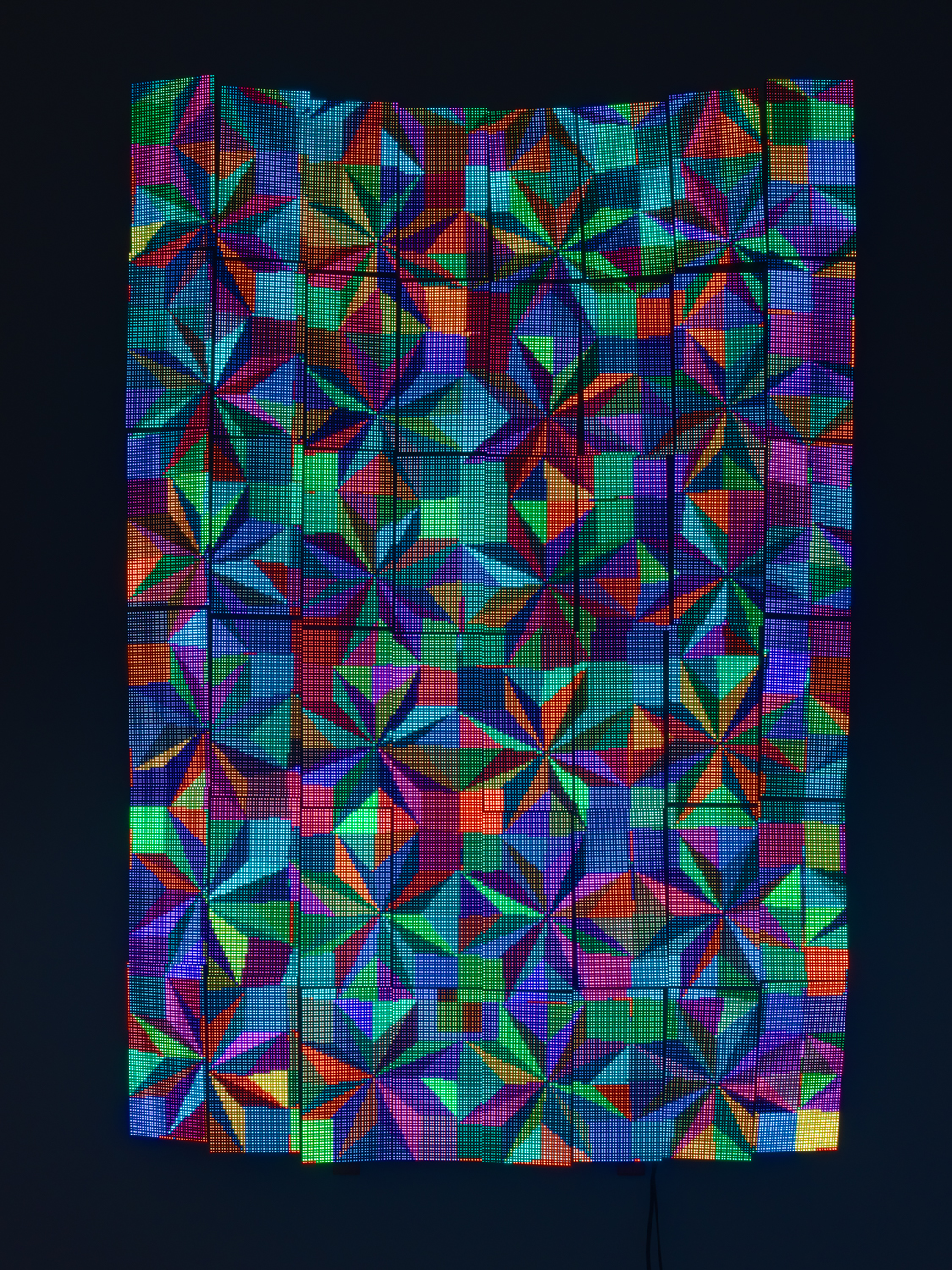 Luke Murphy  StarQuilt  2019 P4 LED Matrix Panels, animation code, mini-PC running Linux, power supplies, aluminum, wire or MDF armature. Technical: Python3 scripts and software, Gigabyte brand i3 mini-PC, running Lubuntu Linux, Linsn receiver card, sender card, 5v 40A 125/220v AC power supplies 63h x 41w x 3d in LMurph002