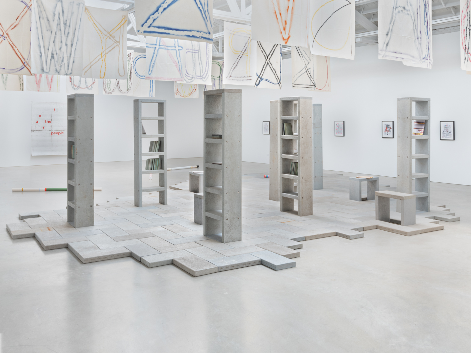 "Dan Peterman  Archive for 57 People  1998 Reprocessed post-consumer plastics, stainless hardware, modular floor, bench and shelf units Shelves - 83 x 23 x 11"" Dimensions variable DPet002"