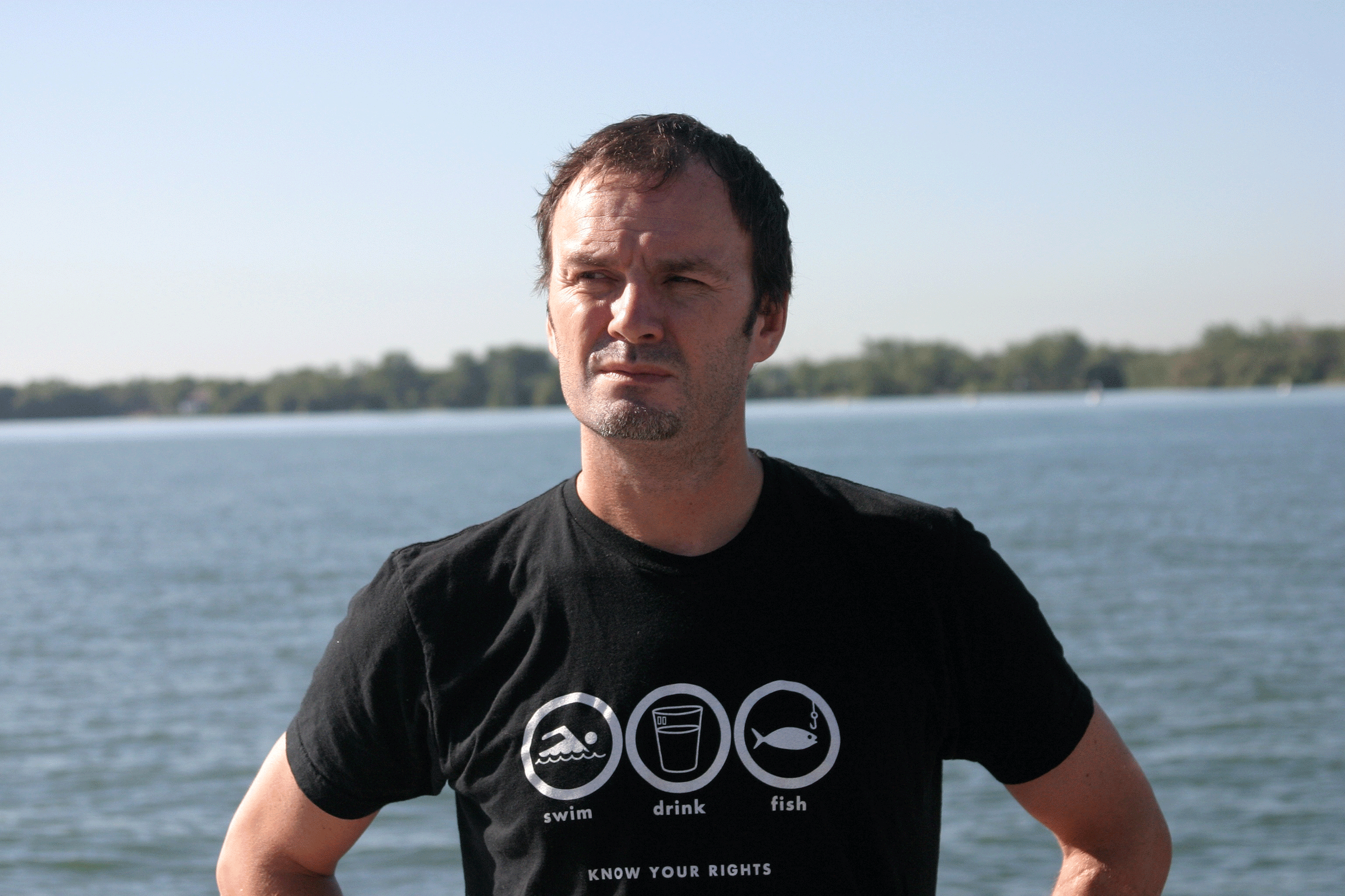 Mark Mattson on the shores of Lake Ontario in the Toronto Harbour. Photo credit: Dylan Neild.