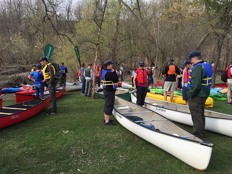 Paddlers getting organized at the launch site. (Photo: Lake Ontario Waterkeeper)