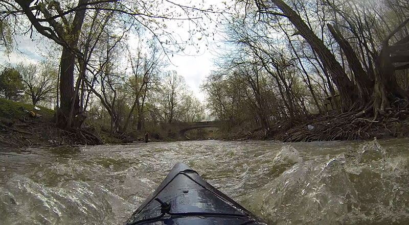 Splashing through the Don River's momentary class 2 rapids. (Photo: Lake Ontario Waterkeeper)