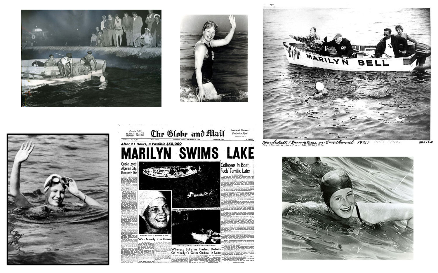 Photos collected from Marilyn Bell's historic swims across Lake Ontario and the English Channel. (Photos sourced from  The Canadian Encyclopedia  and  BlogTO .)