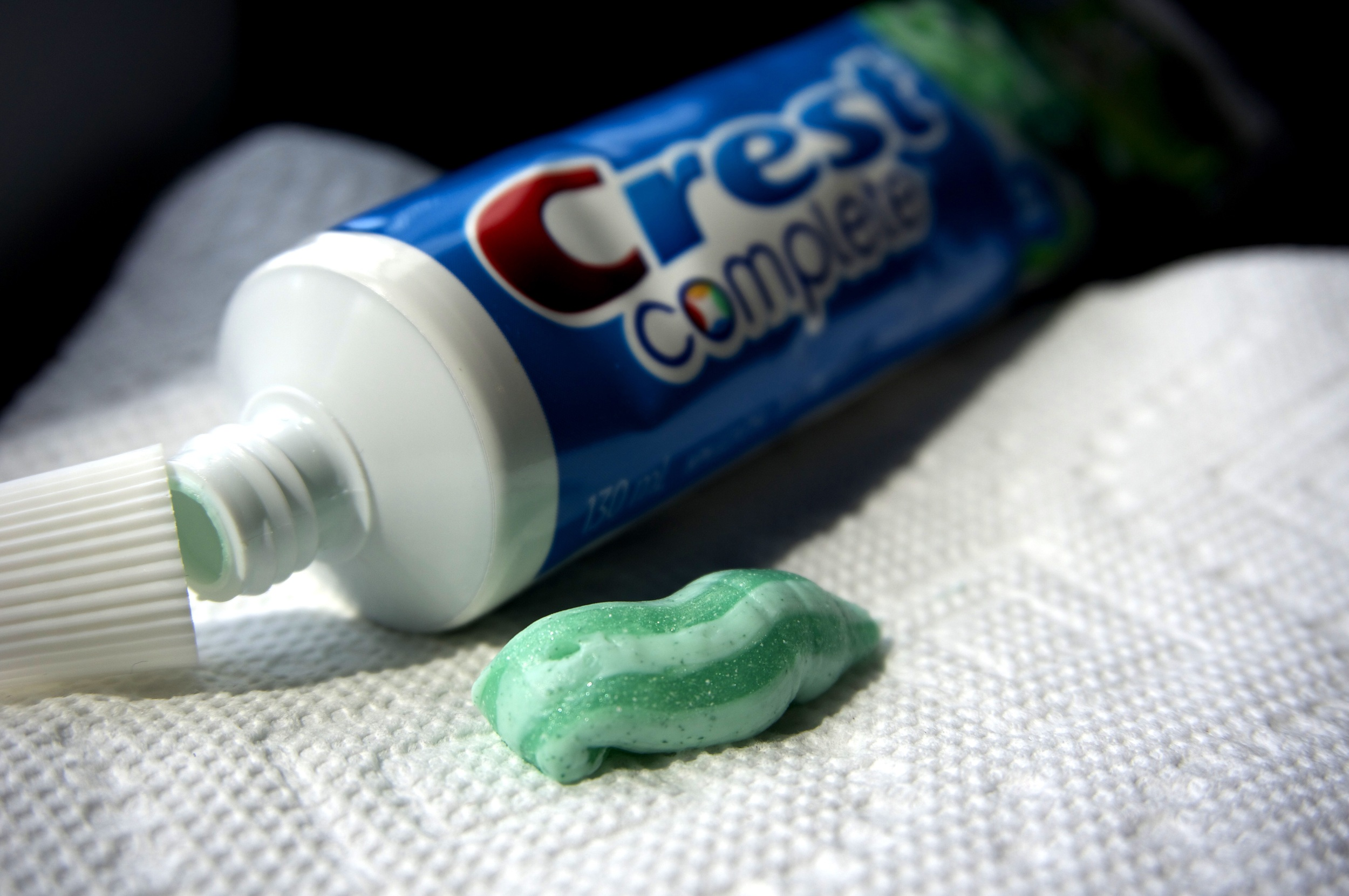 Tiny plastics unnecessarily added to personal care products such as soaps, facial cleansers, and as seen here, toothpaste. (Photo via Lake Ontario Waterkeeper)