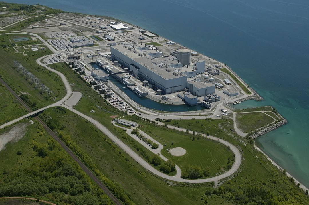 Sitting on the shores of Lake Ontario, the Darlington Nuclear Generation Station. (Photo via  OPG )