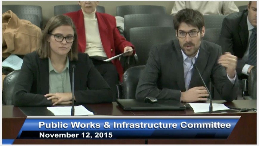 Lake Ontario Waterkeeper's Hannah Gladstone and Tristan Willis discussing recommendations on the P2 Program to the Public Works and Infrastructure Committee. (Image via webcast.)