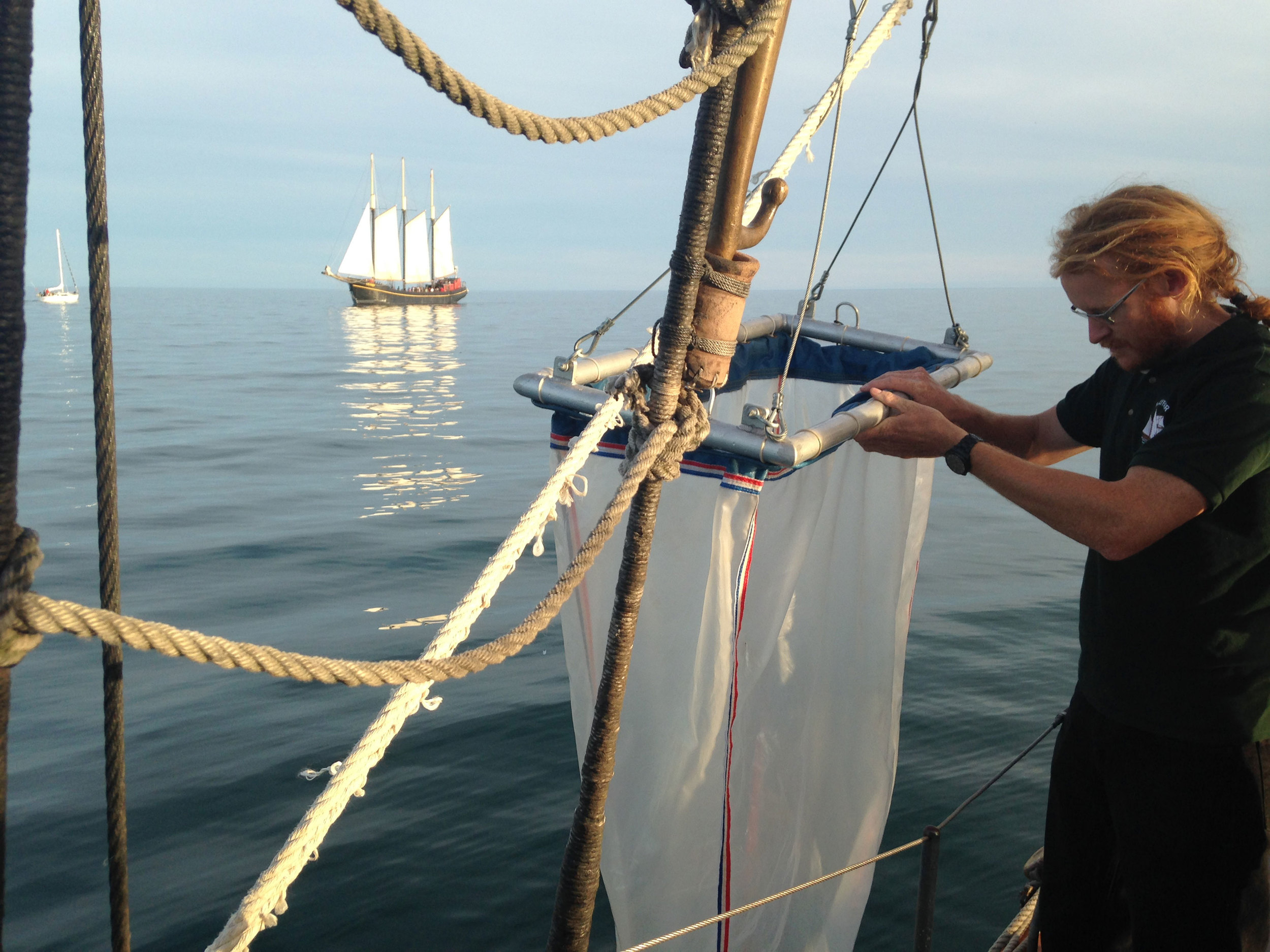 Sampling for microplastics with Ontario Streams and Toronto Brigantine's Tall Ship Adventures for Youth. (Photo via Lake Ontario Waterkeeper)