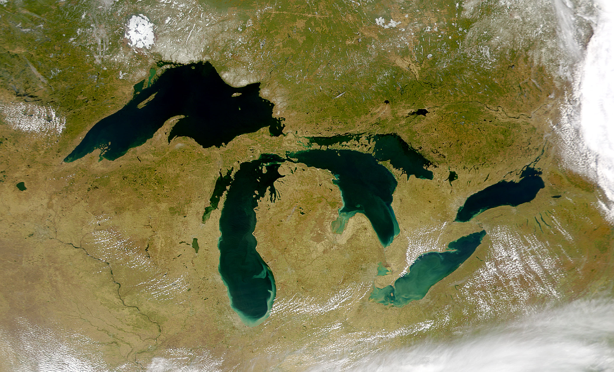 The Great Lakes viewed from above. (Image via  NASA Visible Earth )