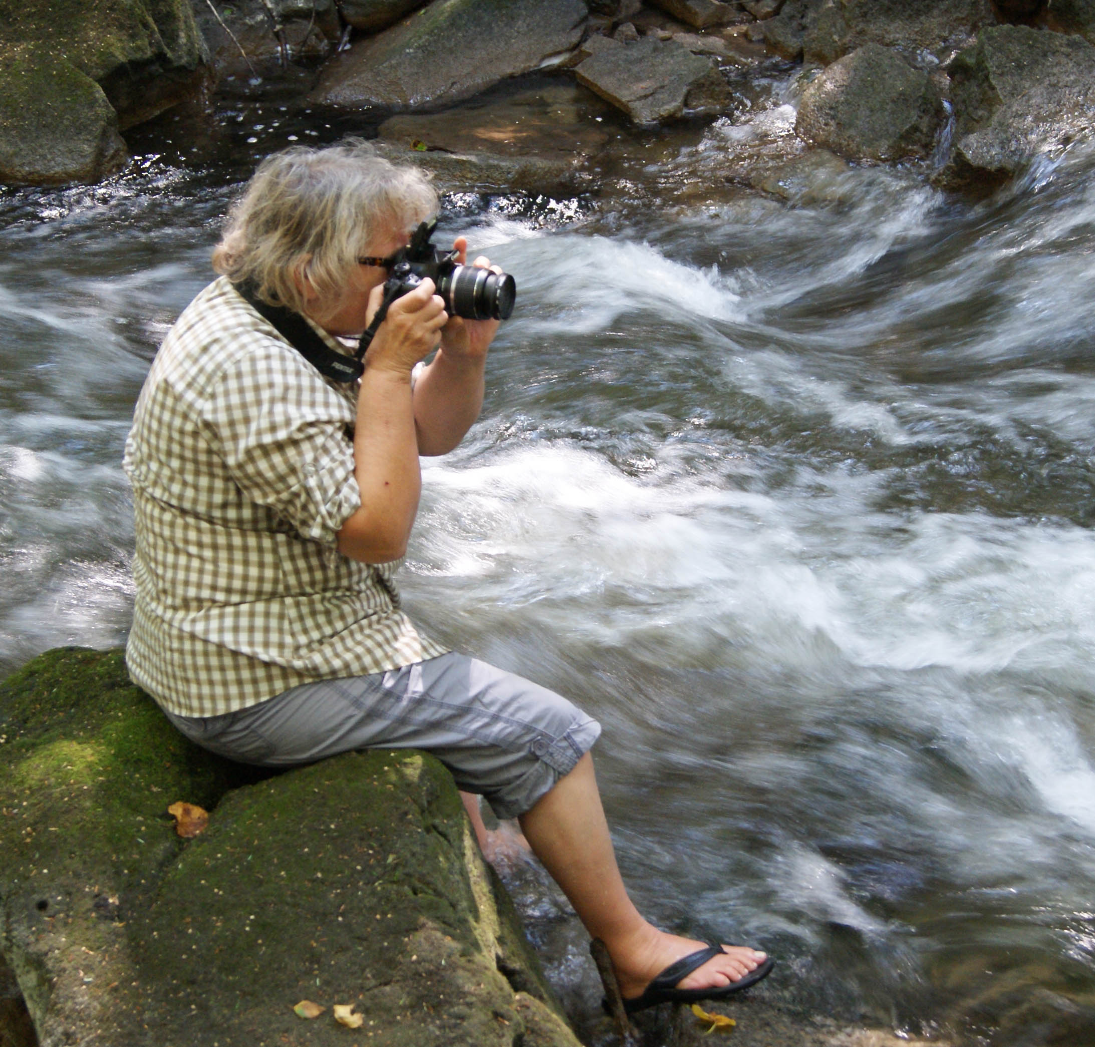 Nina Munteanu on the Credit River, near the Forks of the Credit. (Photo via Nina Munteanu)
