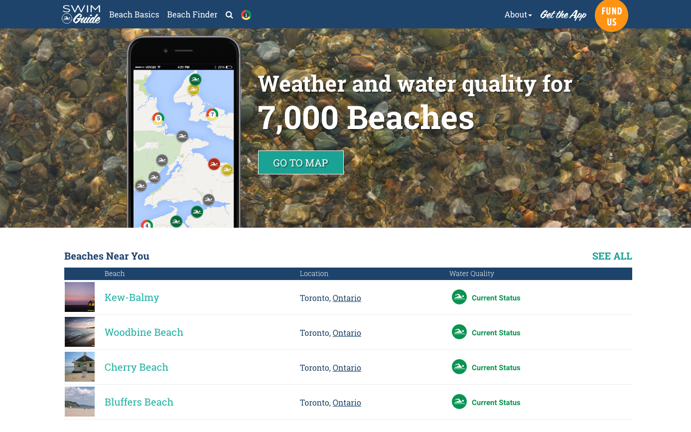 Find the beaches nearest to you right from  Swim Guide's homepage !