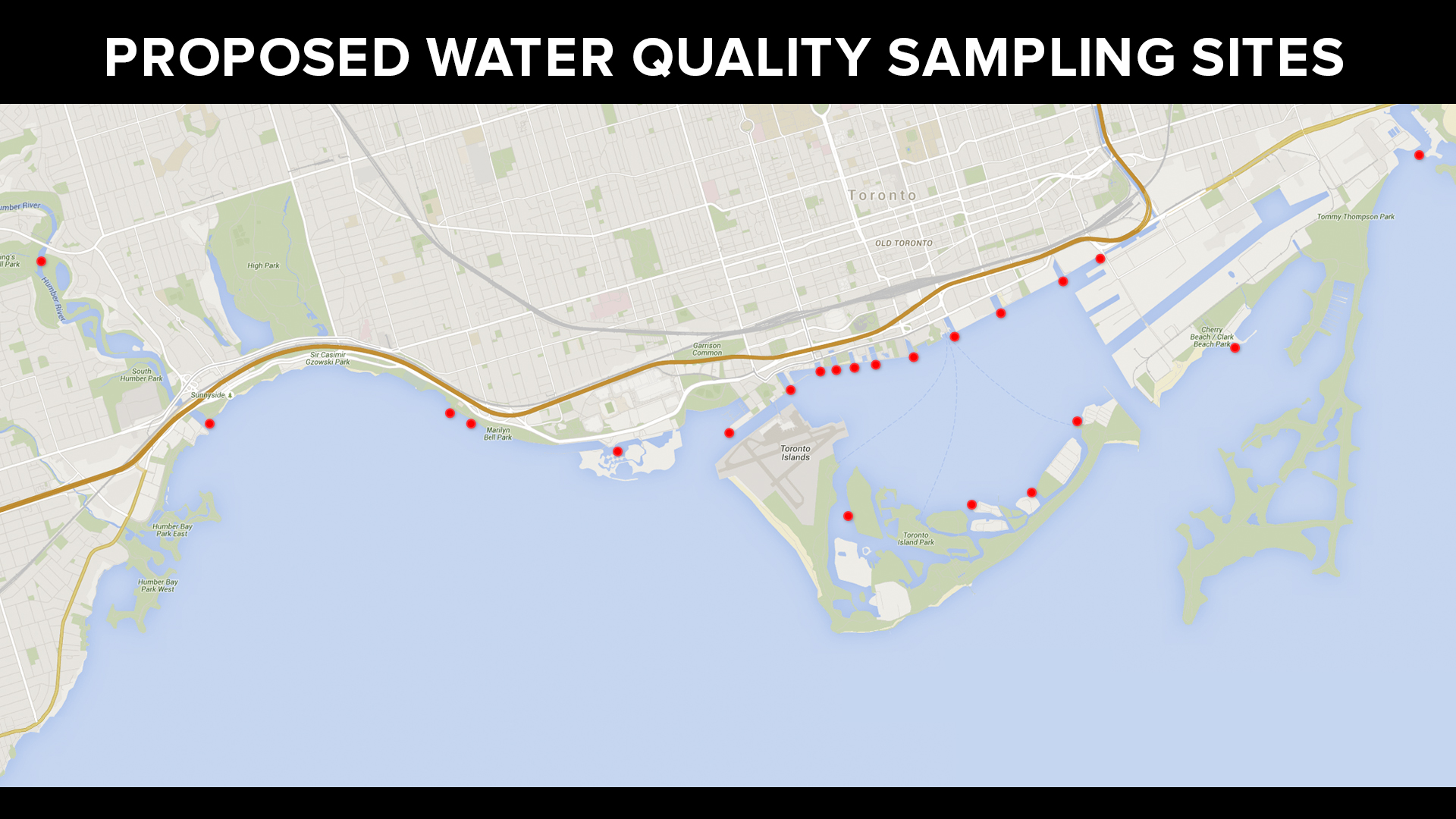 The areas Waterkeeper aims to collect water quality samples from with the  Angus Bruce . (Image via Lake Ontario Waterkeeper)