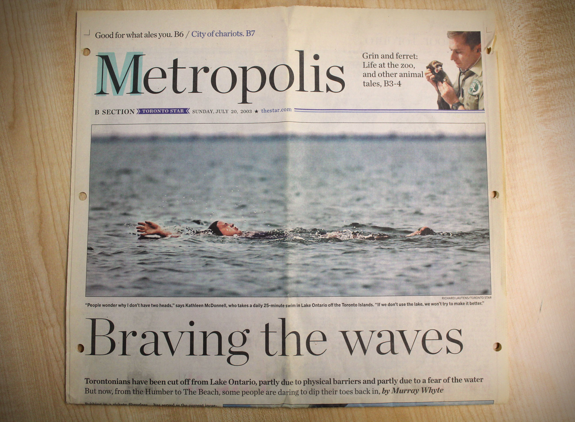 An archived 2003 Toronto Star article featuring Kathleen doing what she loves.