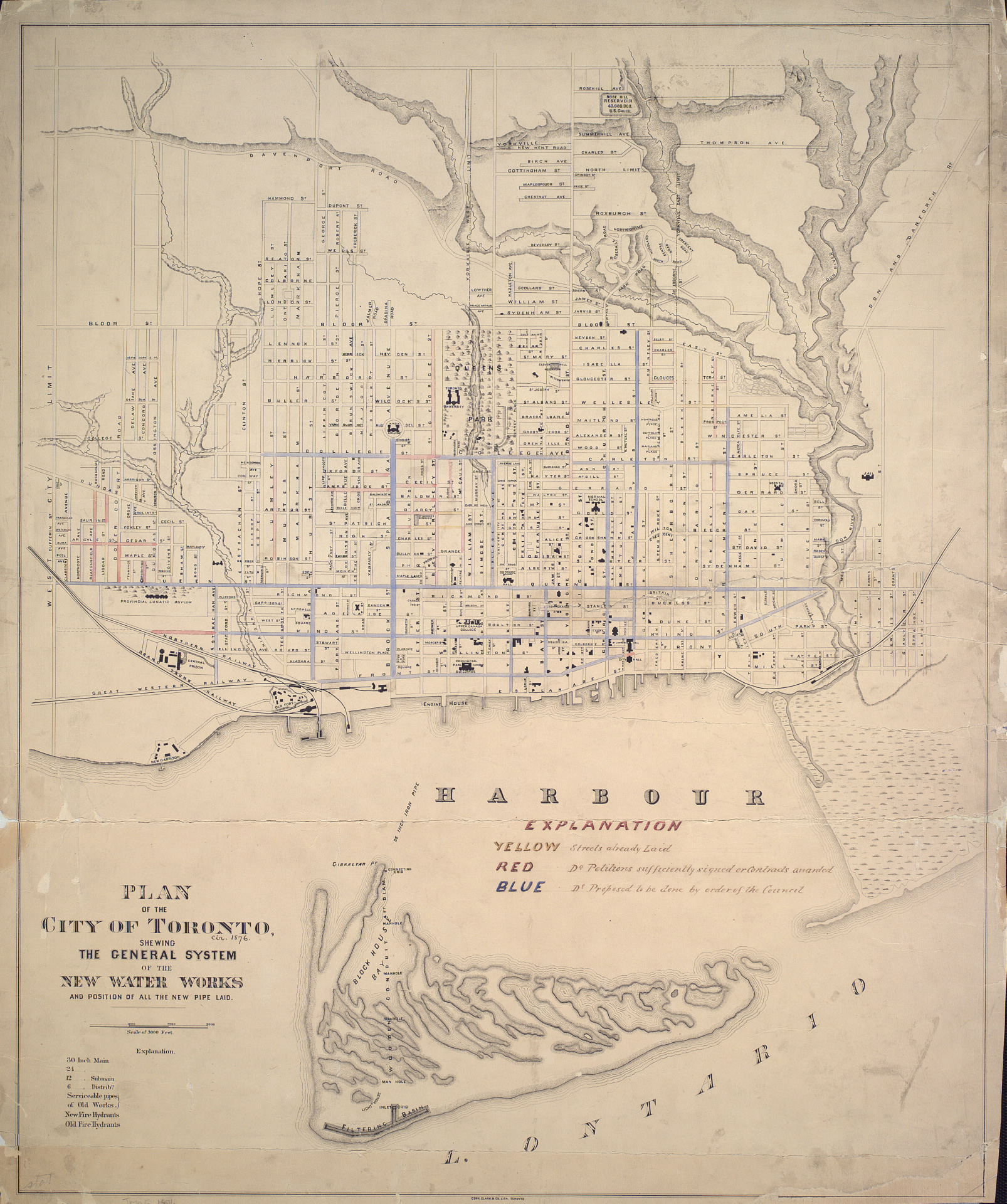 The pipe network in Toronto's inner harbour back in 1876. Existing pipes are in blue and proposed pipes are in red. (Image via  Toronto Public Library )