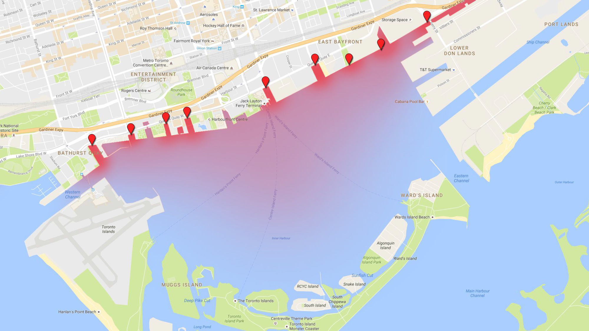 Nine locations where combined sewer overflows release sewage into Toronto's harbour, in addition to the Don River.