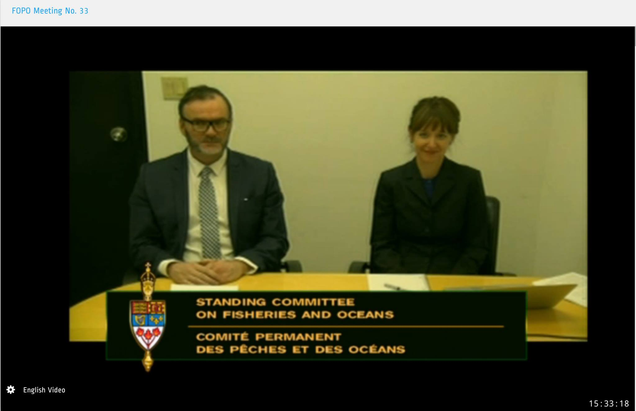 Lake Ontario Waterkeeper / Swim Drink Fish Canada's founders, Mark Mattson and Krystyn Tully presenting recommendations to the Standing Committee. (Screen grab from ParlVu webcast)
