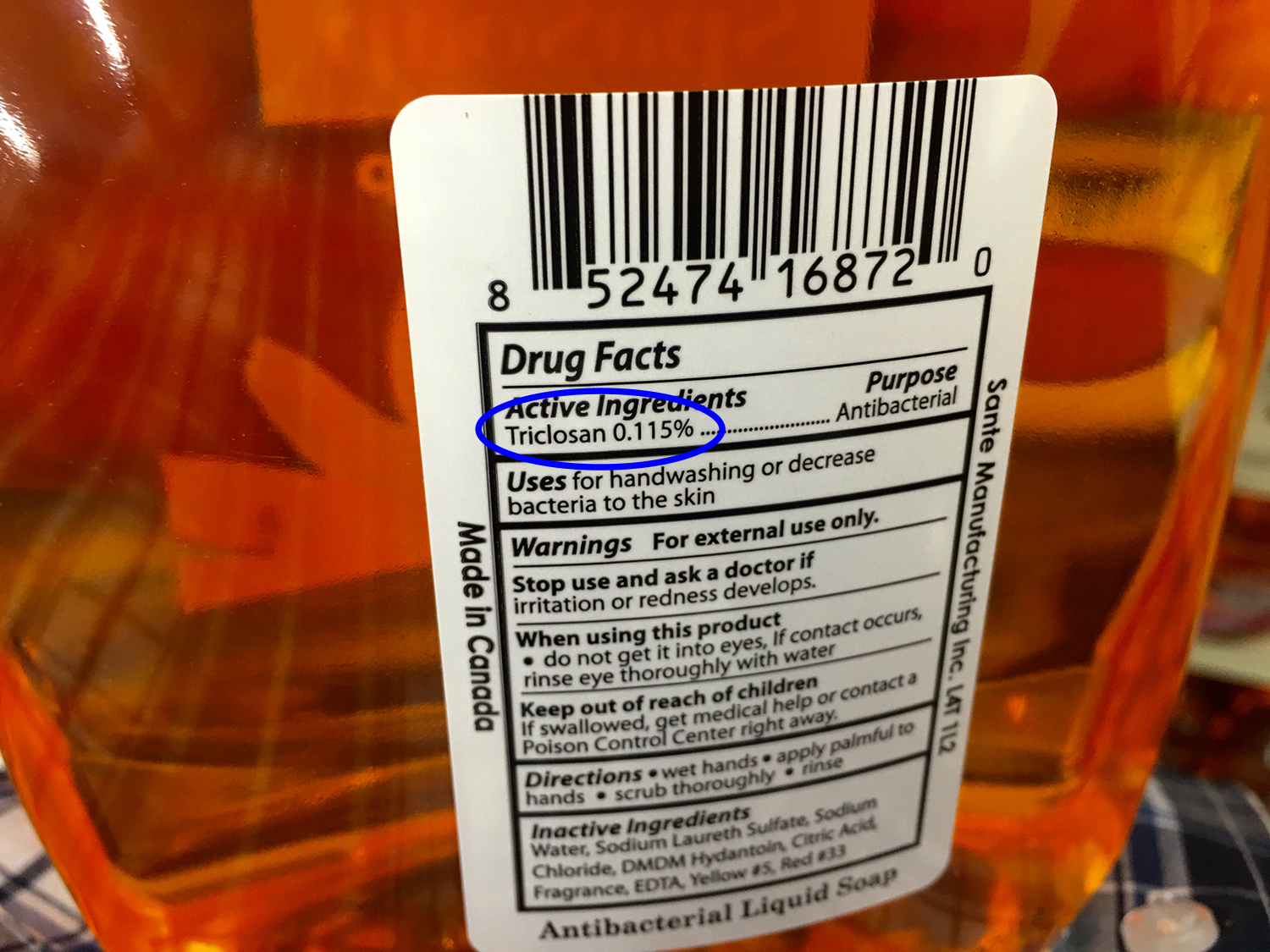 Considered toxic, triclosan is a synthetic chemical that is often found in consumer products and washing into waterways.(Photo by  Mike Mozart )