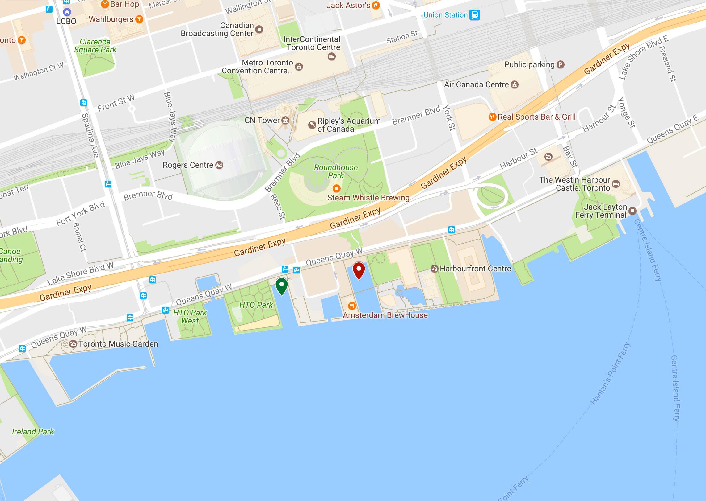 Green pin: HTO Park. Red Pin: Marina 4.