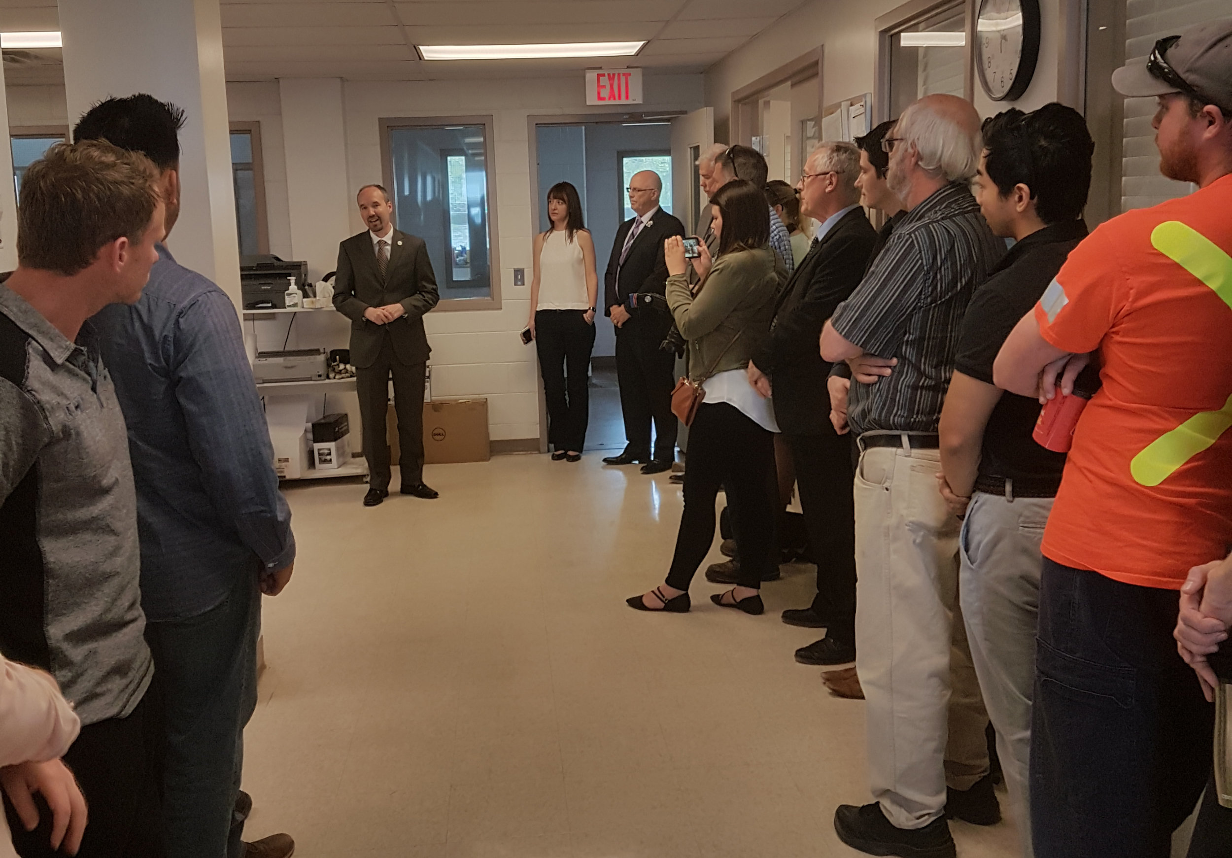 Kingston mayor Bryan Paterson speaking at the King Street Water Treatment Plant about the launch of the overflow notifications.