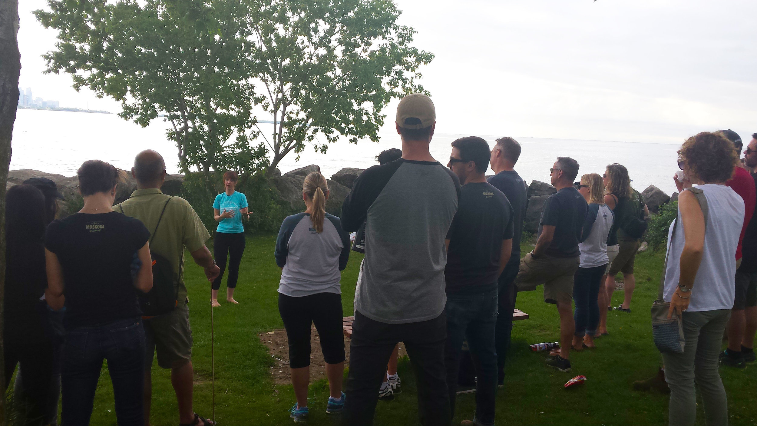 Krystyn Tully speaking prior to a shoreline cleanup and water sampling excursion at Humber Bay Park West.