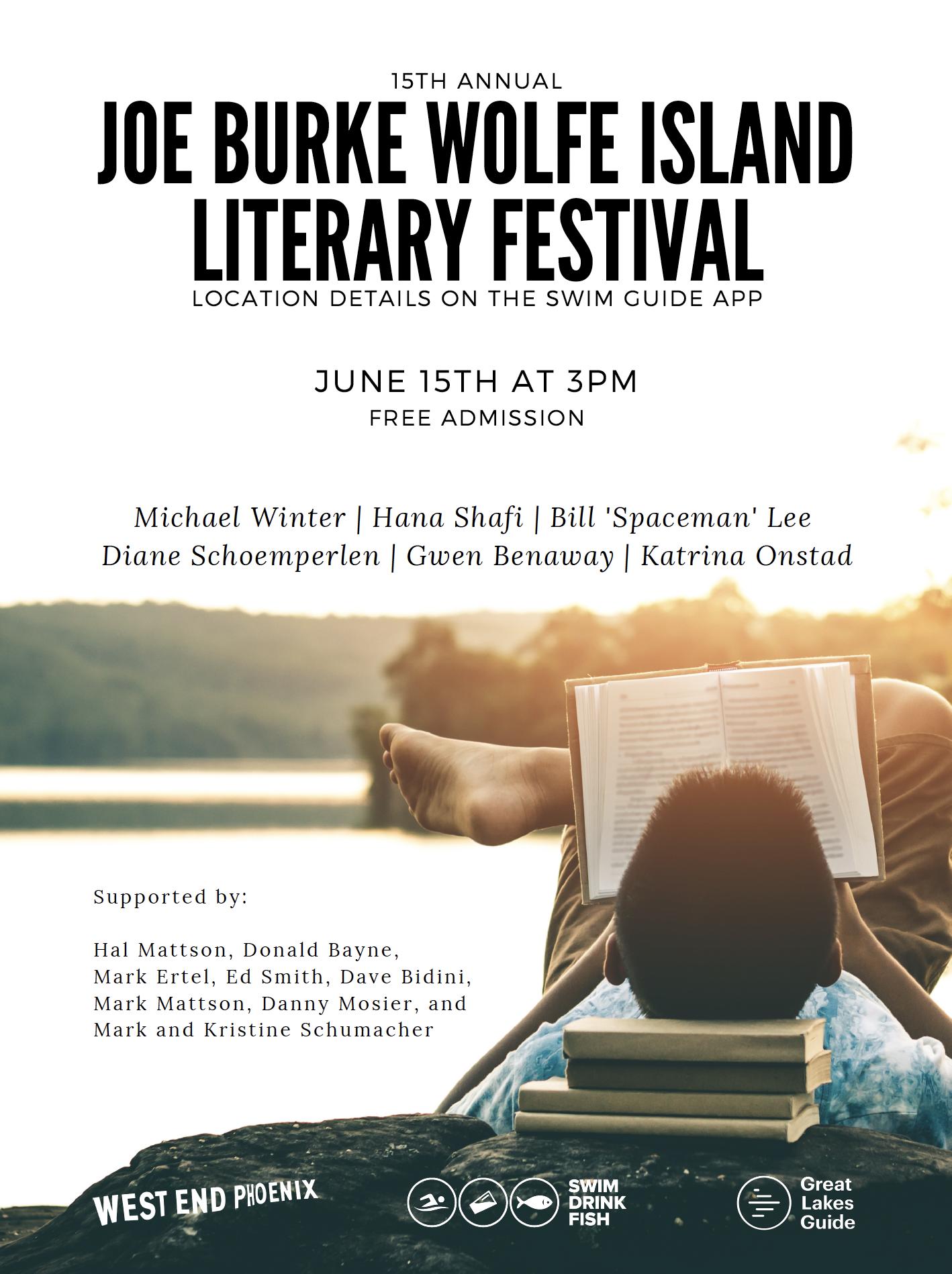 15th Annual Joe Burke Wolfe Island Literary Festival - Lake Ontario Waterkeeper - West End Phoenix - Swim Drink Fish - Kingston