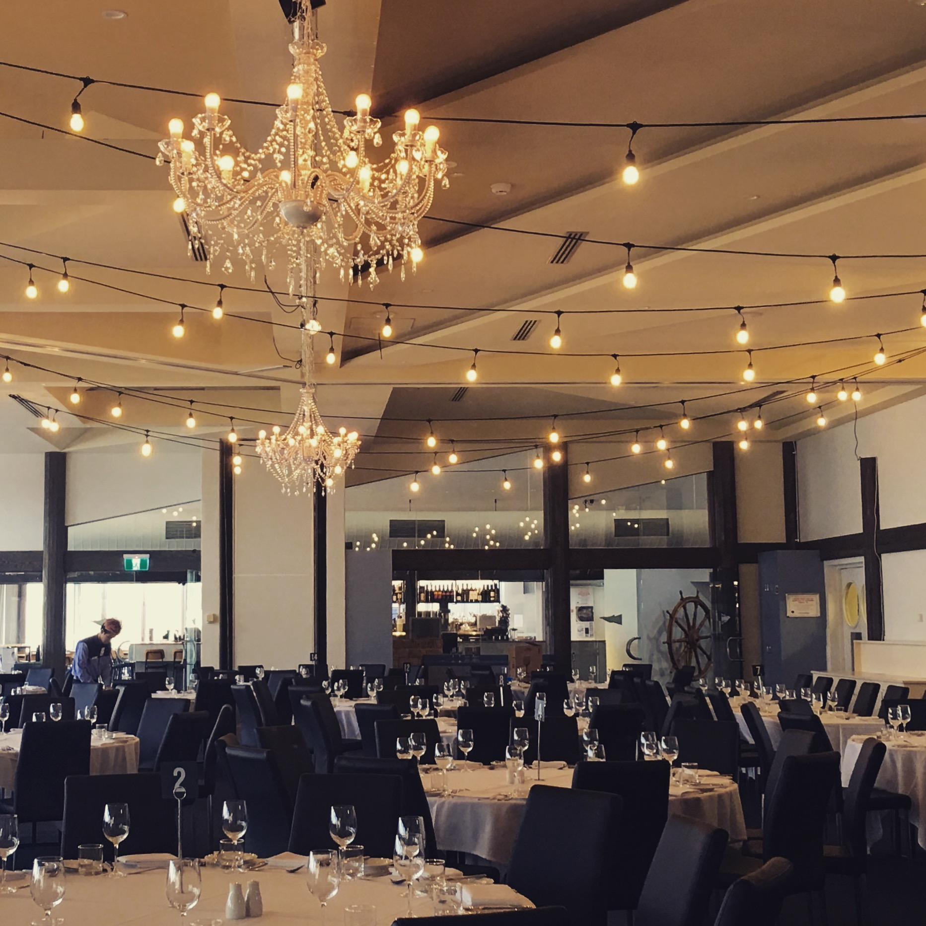 Festoon lights with Large Chandeliers.