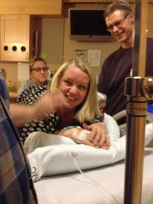 Laughing away the contractions while in the on-all-fours position. easy peasy.