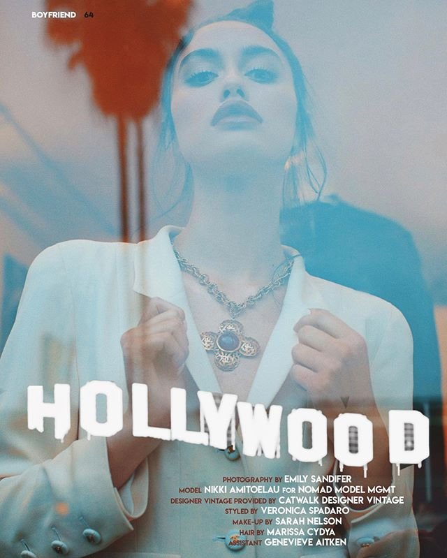 "Total 90's vibes in this one with some of my favorite peeps!!! 💋✨ Thanks @boyfriend.magazine for publishing our ""Hollywood"" story. Go check out the new issue for the full story.  Model @nkamitoelau @nomadmgmt_la  #photography @emilysandiferphotography  #Stylist @veronicaspadaro  #designervintage provided by @catwalkfairfax  #makeup @sarahnelsonmakeup  #hair @marissacydya  #fashioneditorial #losangelesphotographer #fashionphotography #femalephotographer #editorial #boyfriendmag #catwalk #model #LAmodel #fashionstory #magazine #editorialphotographer #femalefashiontream #gucci #moschino #chanel #editorialhairstylist #hairbymarissacydya #maneaddicts #salonrepublic"
