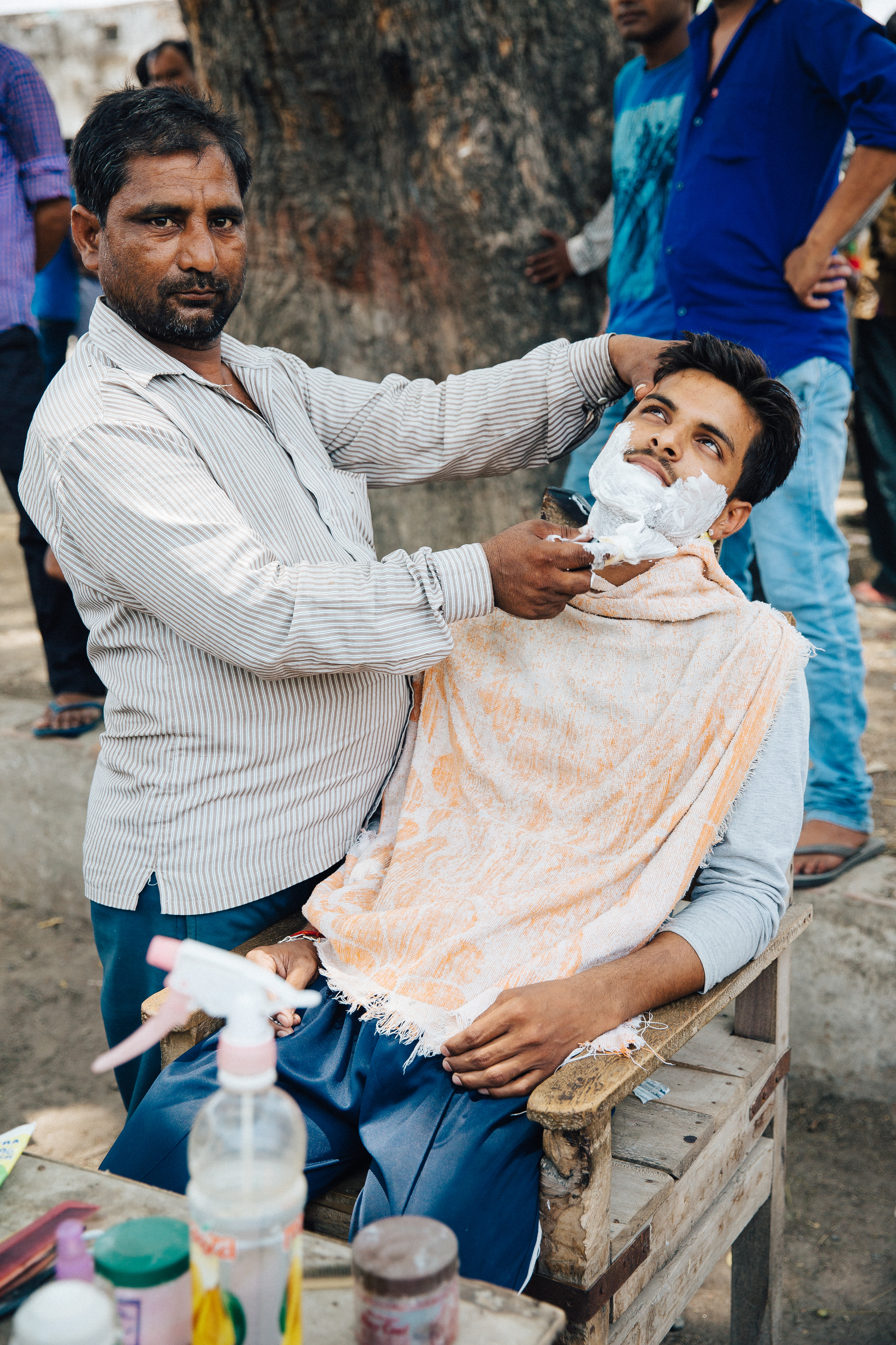 Road-side shave, India