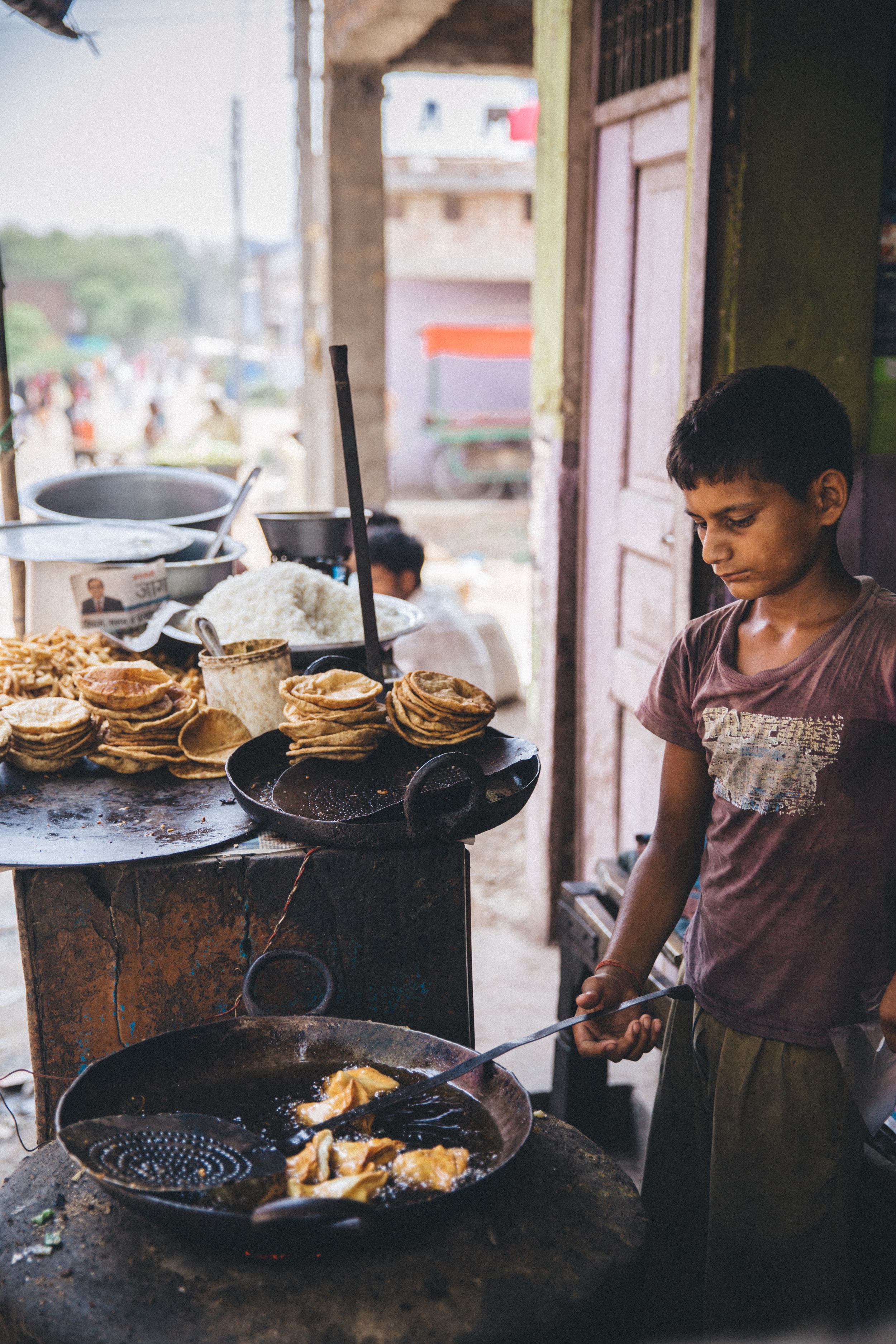 Road-side snack, India.