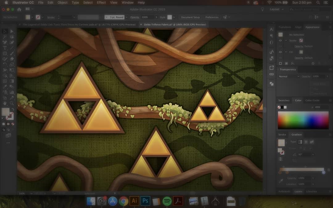 Legend of Zelda Triforce Fabric Design. ~ Corinne Jade, ClubHouse Collective
