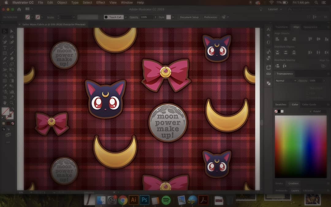 Sailor Moon Fabric Design. ~ Corinne Jade, ClubHouse Collective