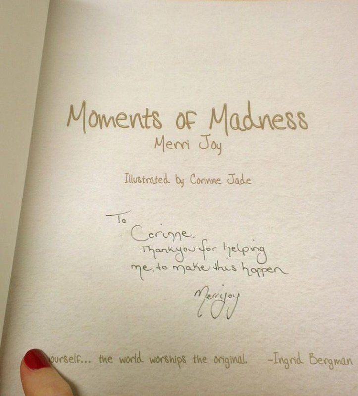 """""""Moments of Madness"""" thank you from Author Merri Joy. ~ Corinne Jade, ClubHouse Collective"""