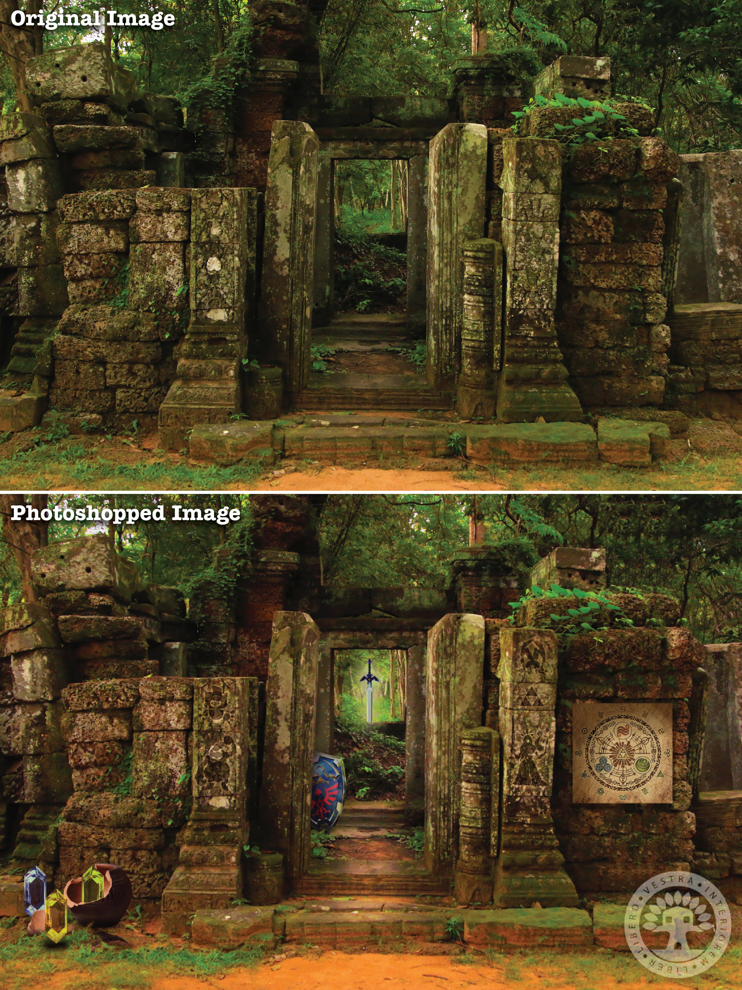 """""""Temple of Time ruins"""" before and after Photoshop . ~ Corinne Jade, ClubHouse Collective"""