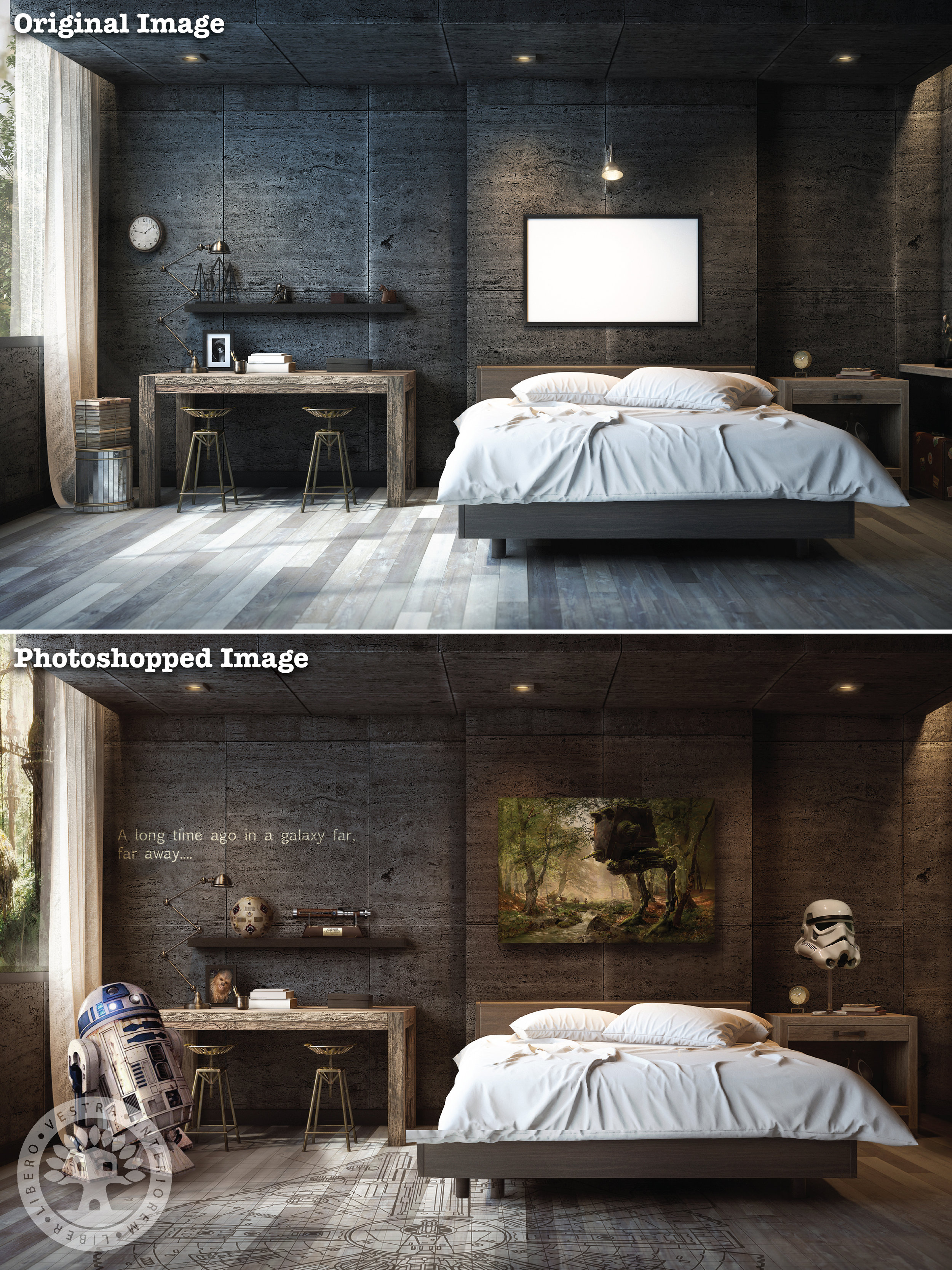 """""""Skywalker Loft"""" before and after Photoshop . ~ Corinne Jade, ClubHouse Collective"""