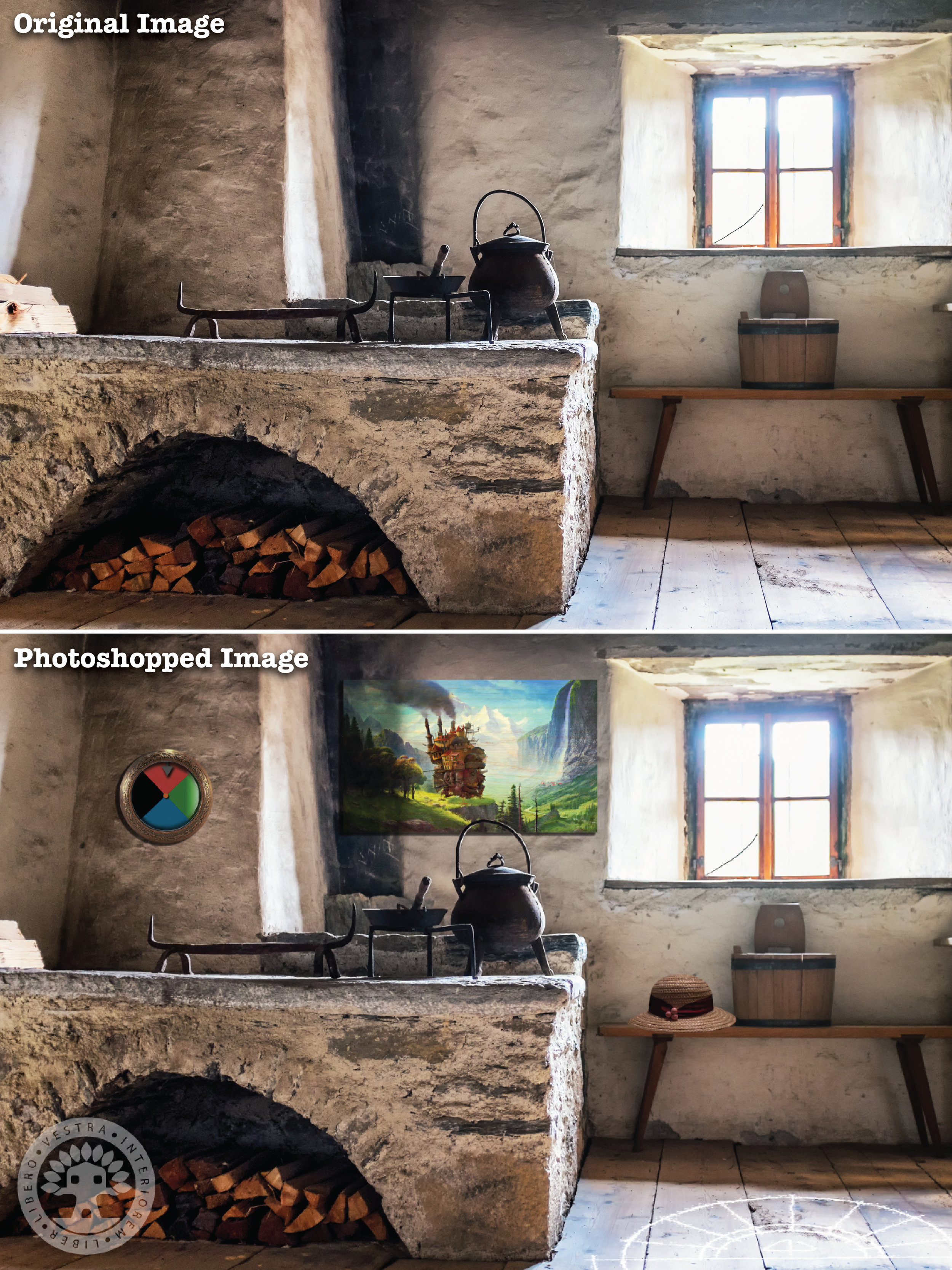 """""""Howl's Kitchen"""" before and after Photoshop . ~ Corinne Jade, ClubHouse Collective"""