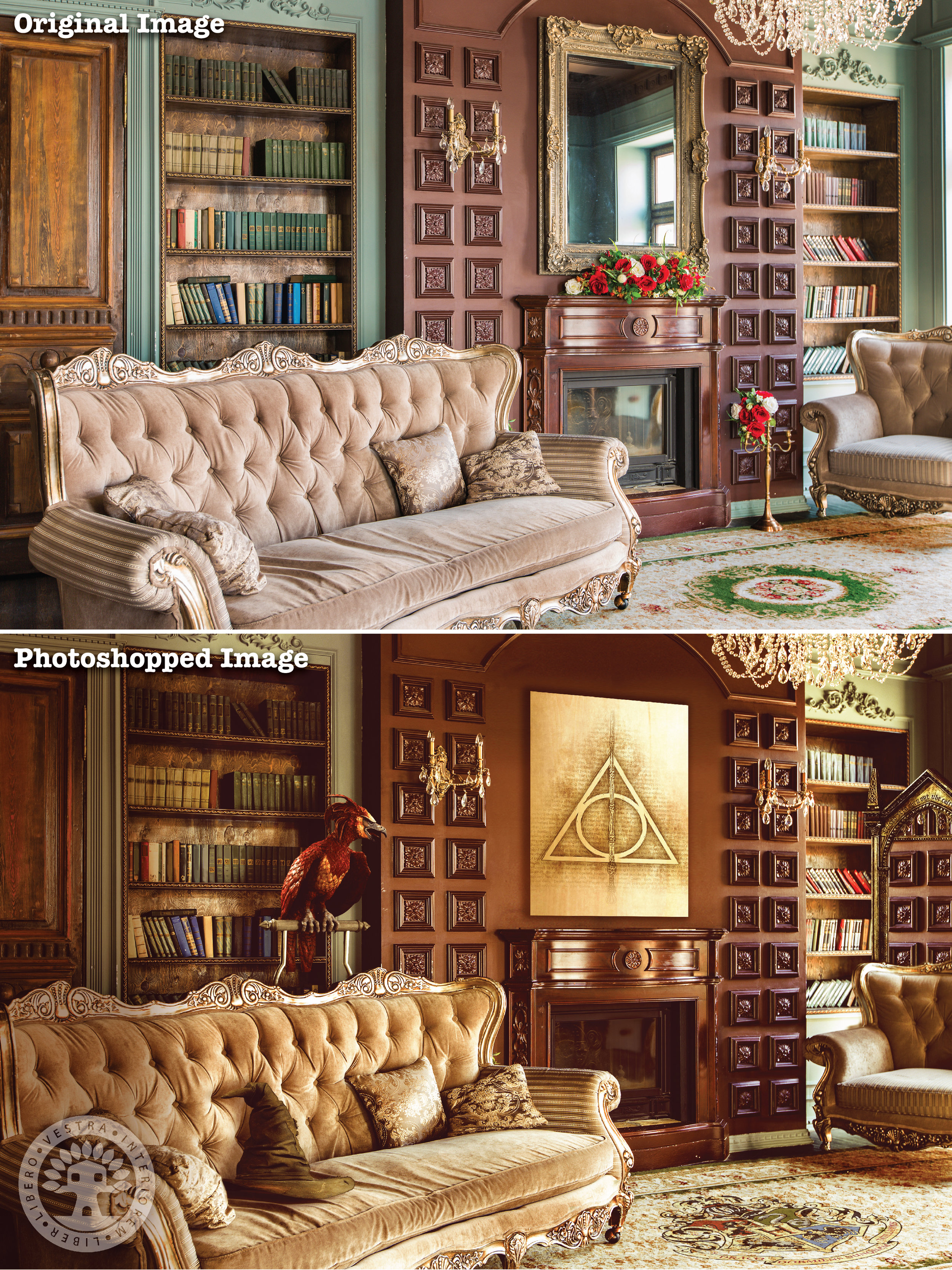 """""""Dumbledore's Study"""" before and after Photoshop . ~ Corinne Jade, ClubHouse Collective"""