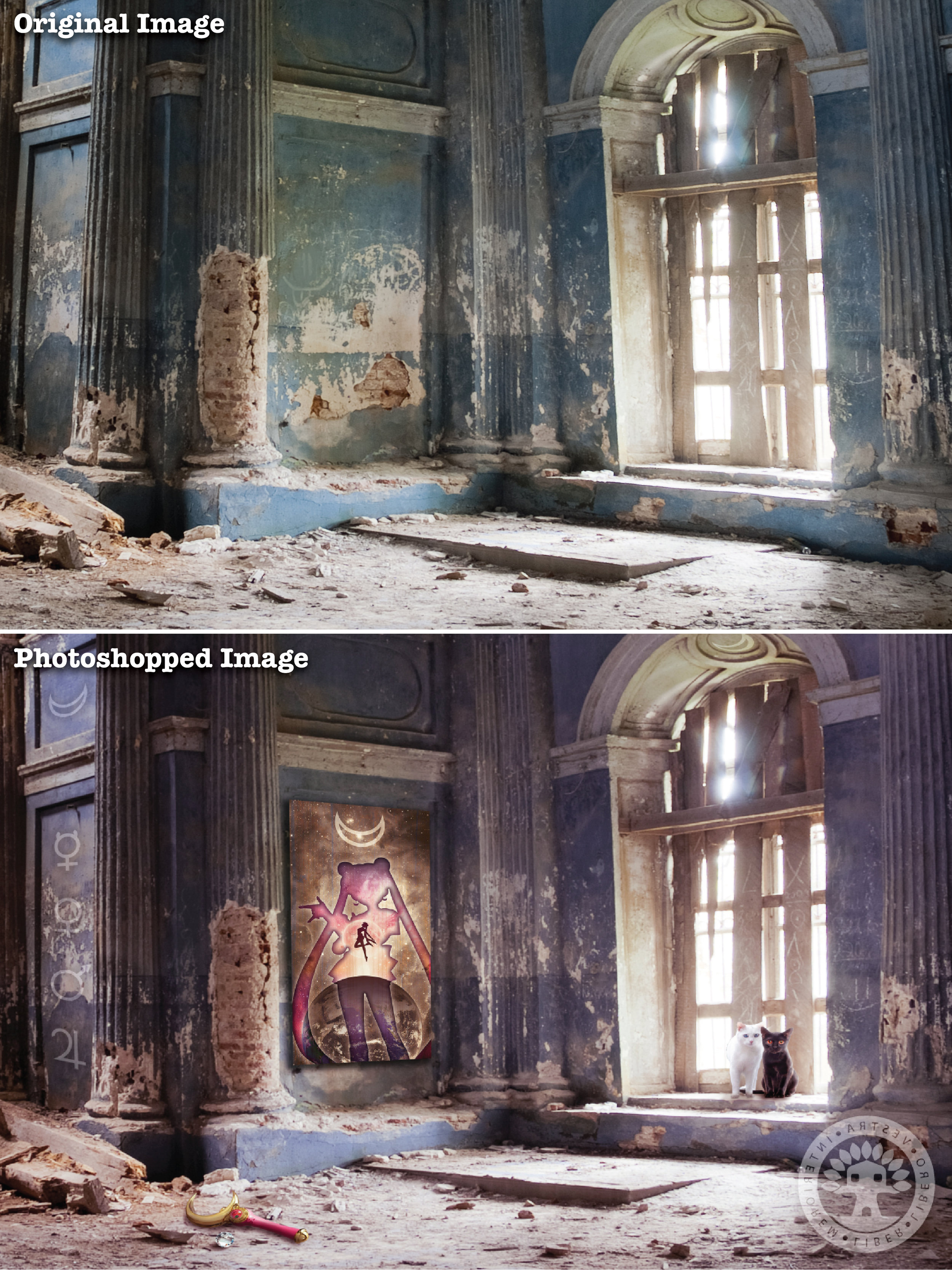 """""""Moon Kingdom Ruins"""" before and after Photoshop . ~ Corinne Jade, ClubHouse Collective"""