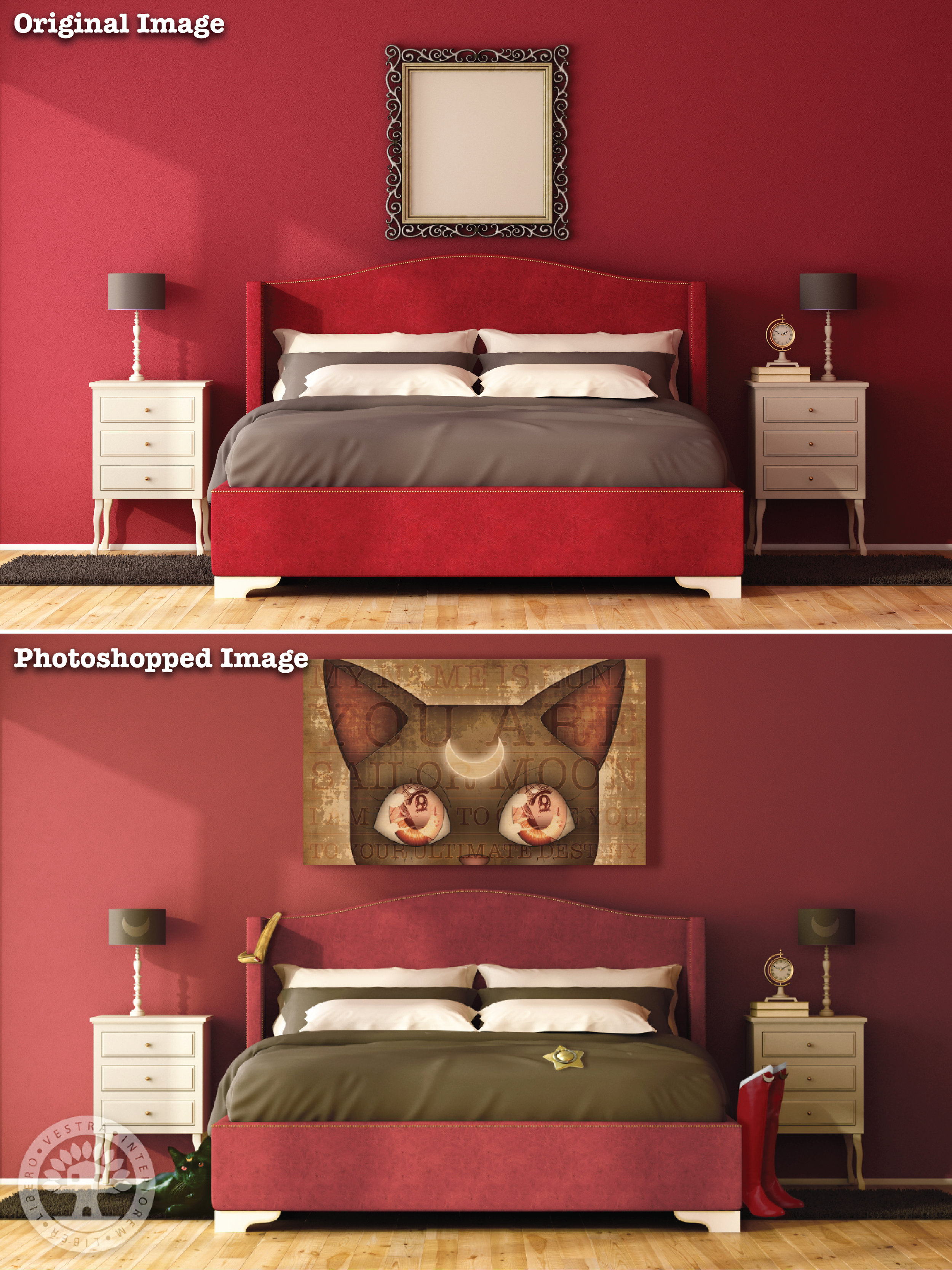 """""""Usagi's Room"""" before and after Photoshop . ~ Corinne Jade, ClubHouse Collective"""