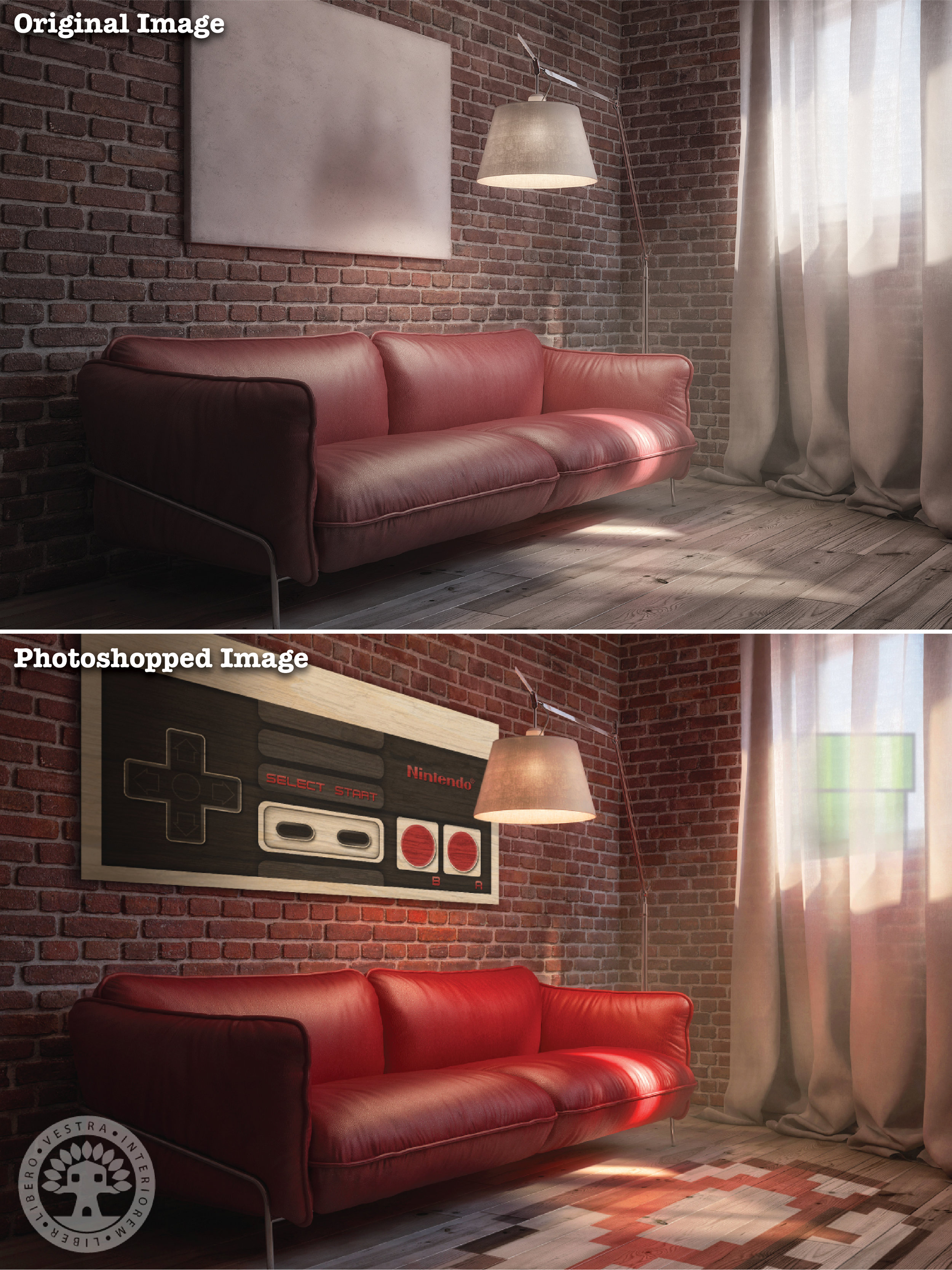 """""""Nintendo Gamer Den"""" before and after Photoshop . ~ Corinne Jade, ClubHouse Collective"""