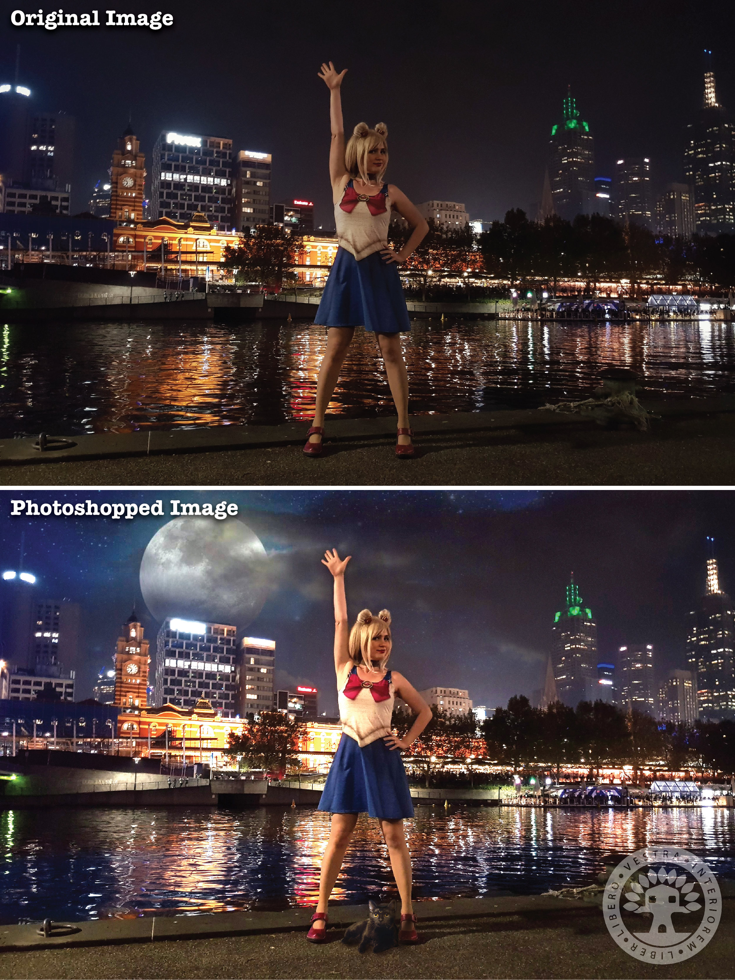 """""""Sailor Moon Dress"""" before and after Photoshop . ~ Corinne Jade, ClubHouse Collective"""