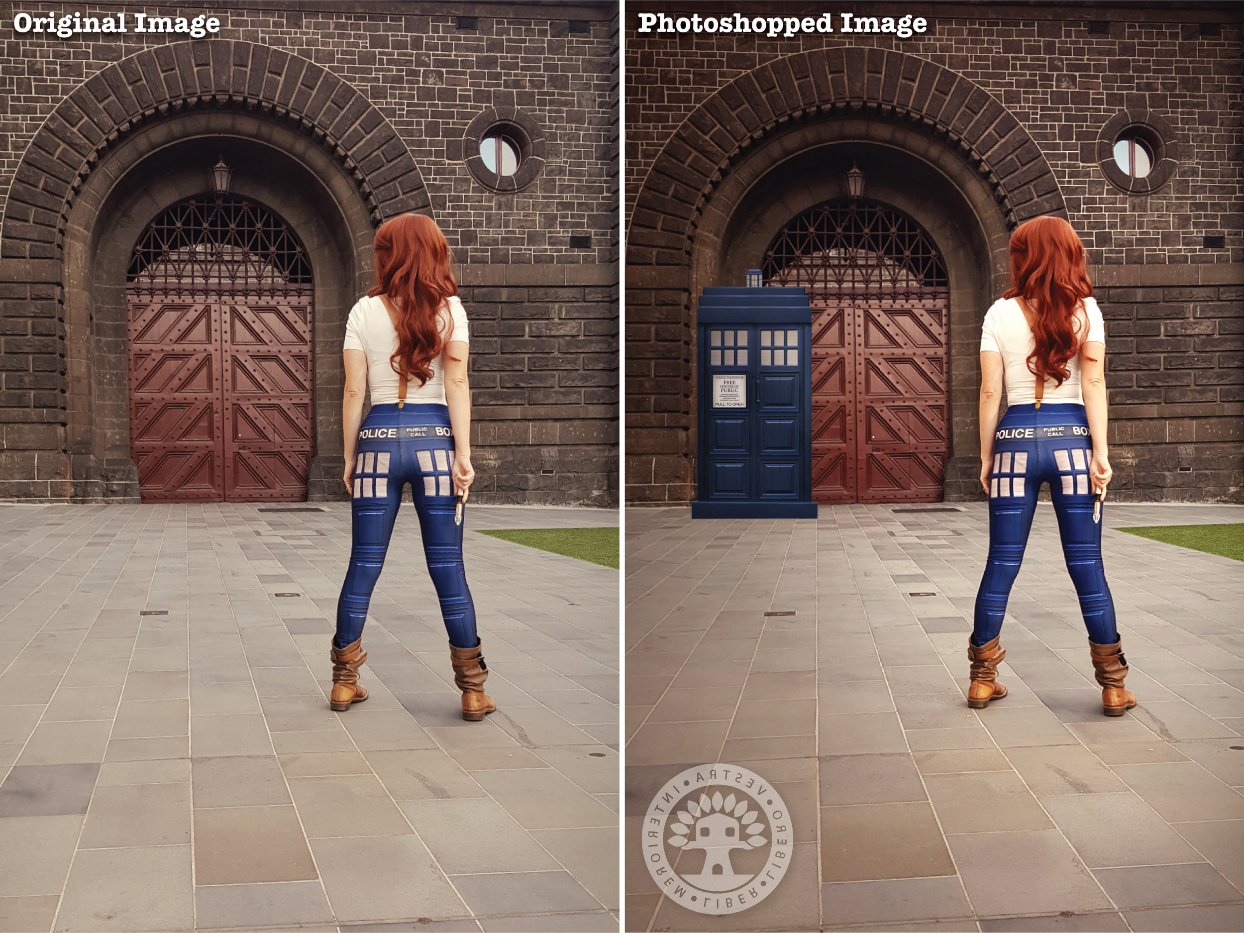 """""""Tardis Leggings"""" before and after Photoshop . ~ Corinne Jade, ClubHouse Collective"""